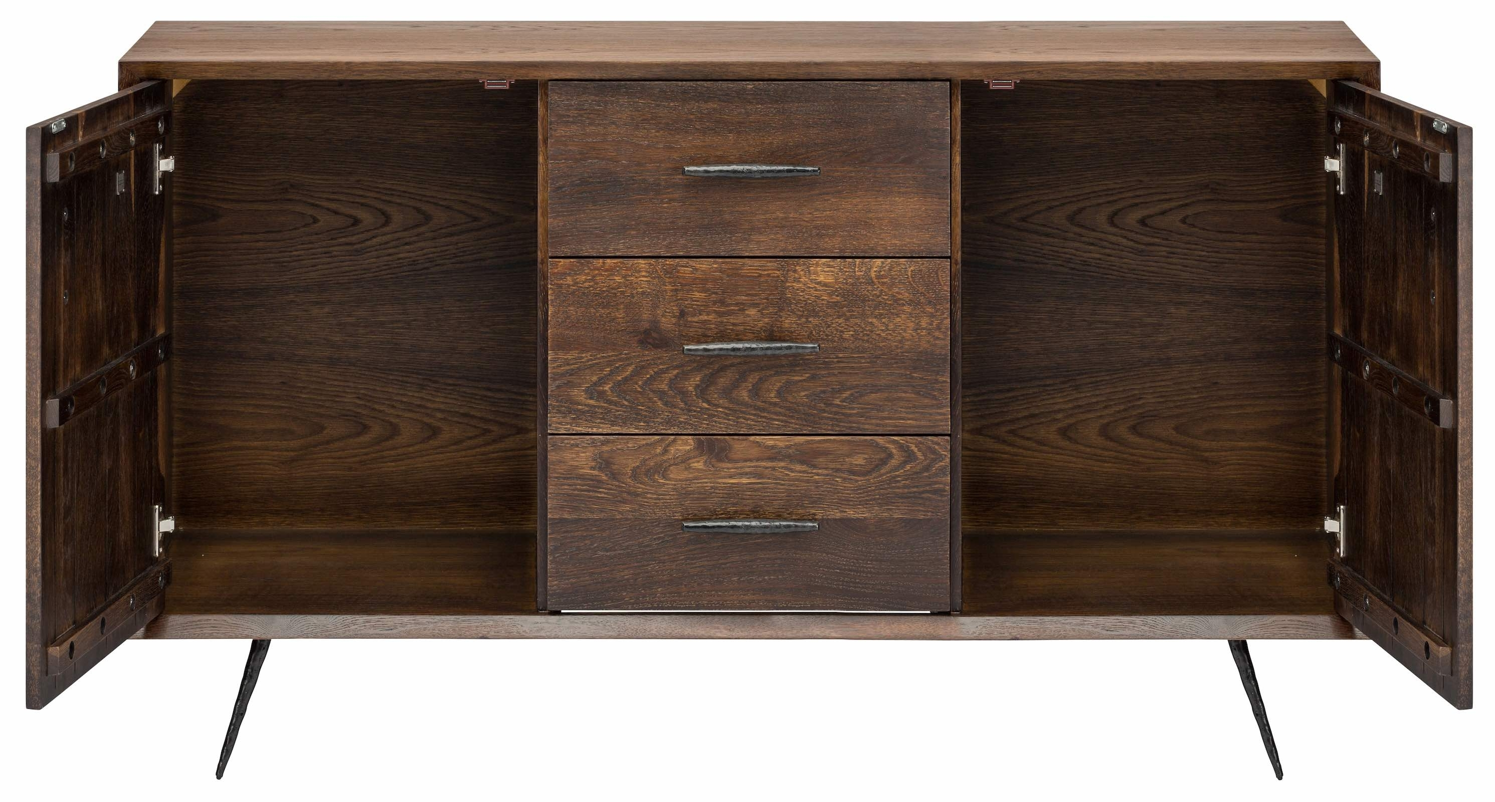 Nexa Sideboard Cabinet In Seared Oak And Black Cast Iron Legs With Black Oak Wood And Wrought Iron Sideboards (Photo 20 of 30)