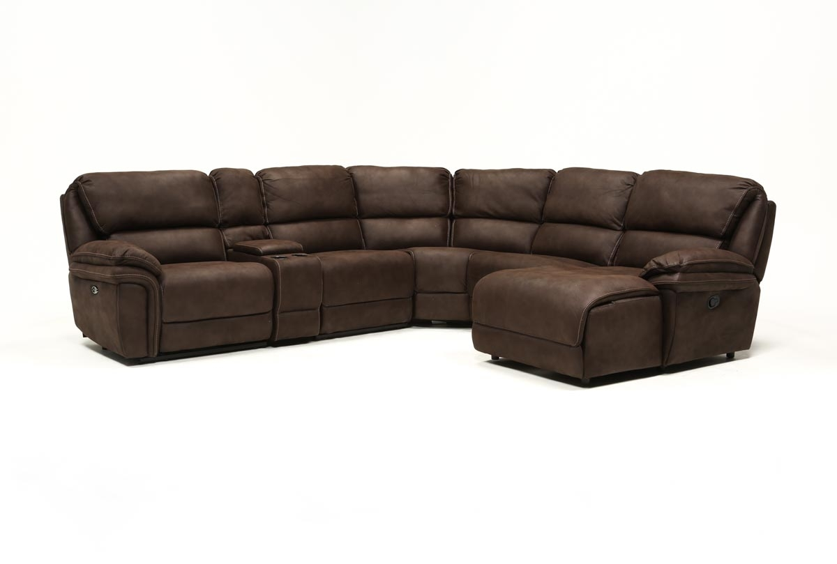 Norfolk Chocolate 6 Piece Sectional W/raf Chaise | Living Spaces With Norfolk Grey 6 Piece Sectionals With Raf Chaise (Photo 4 of 30)