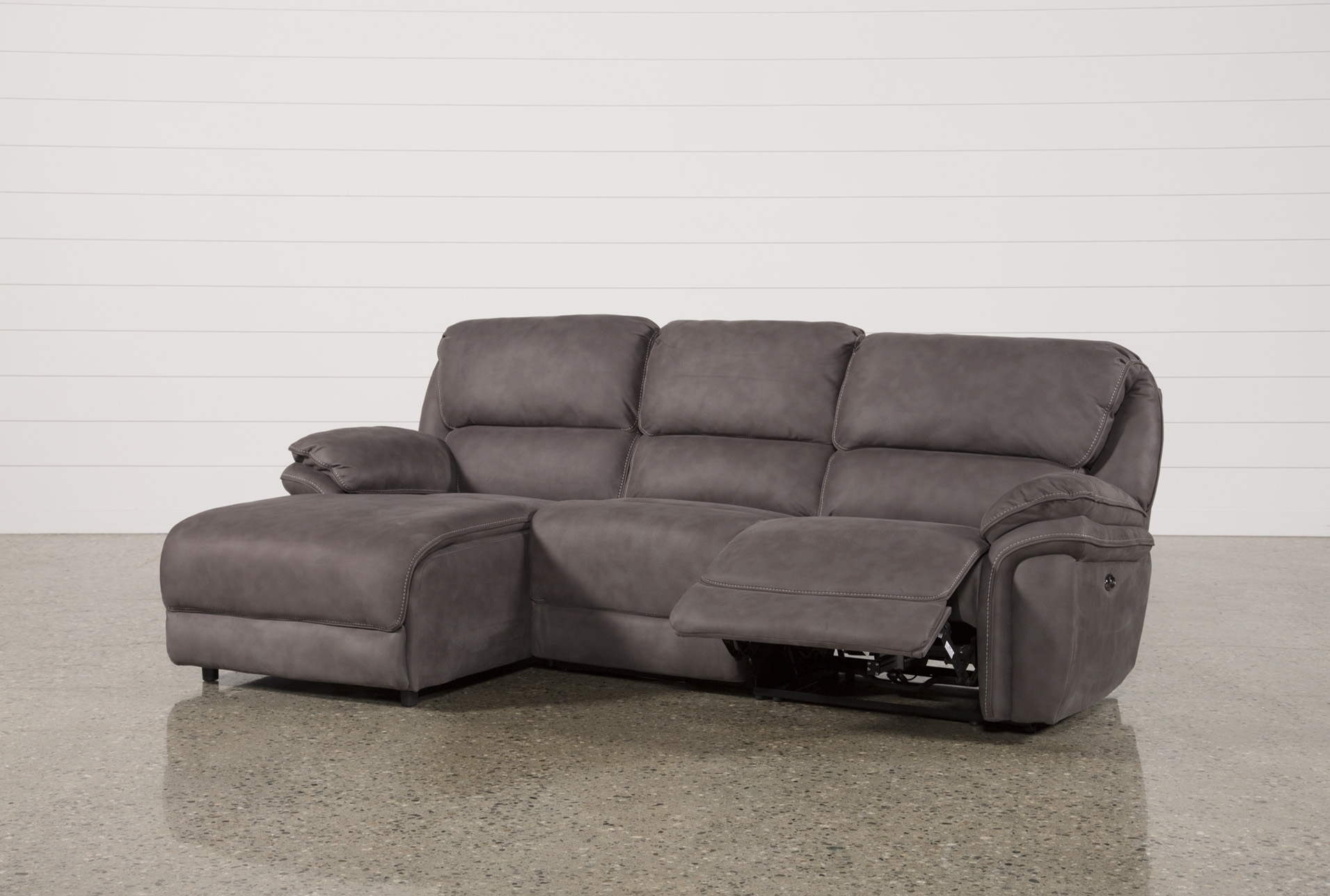 Norfolk Grey 3 Piece Sectional W/laf Chaise for Mcdade Graphite 2 Piece Sectionals With Laf Chaise (Image 17 of 30)