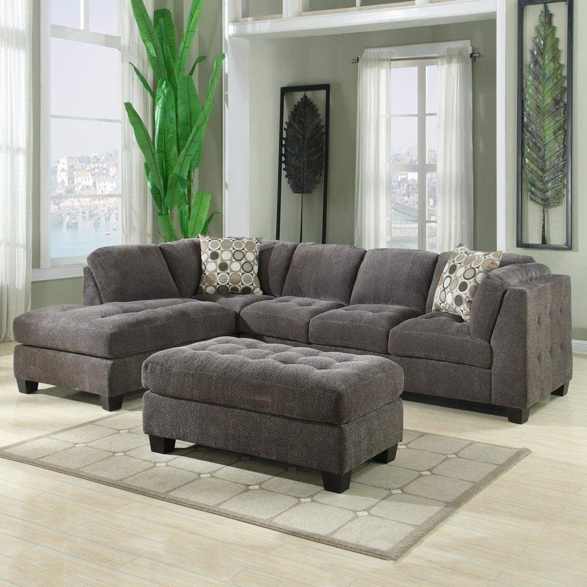 Norfolk Grey 3 Piece Sectional W/laf Chaise In Norfolk Grey 3 Piece Sectionals With Laf Chaise (Photo 7 of 30)