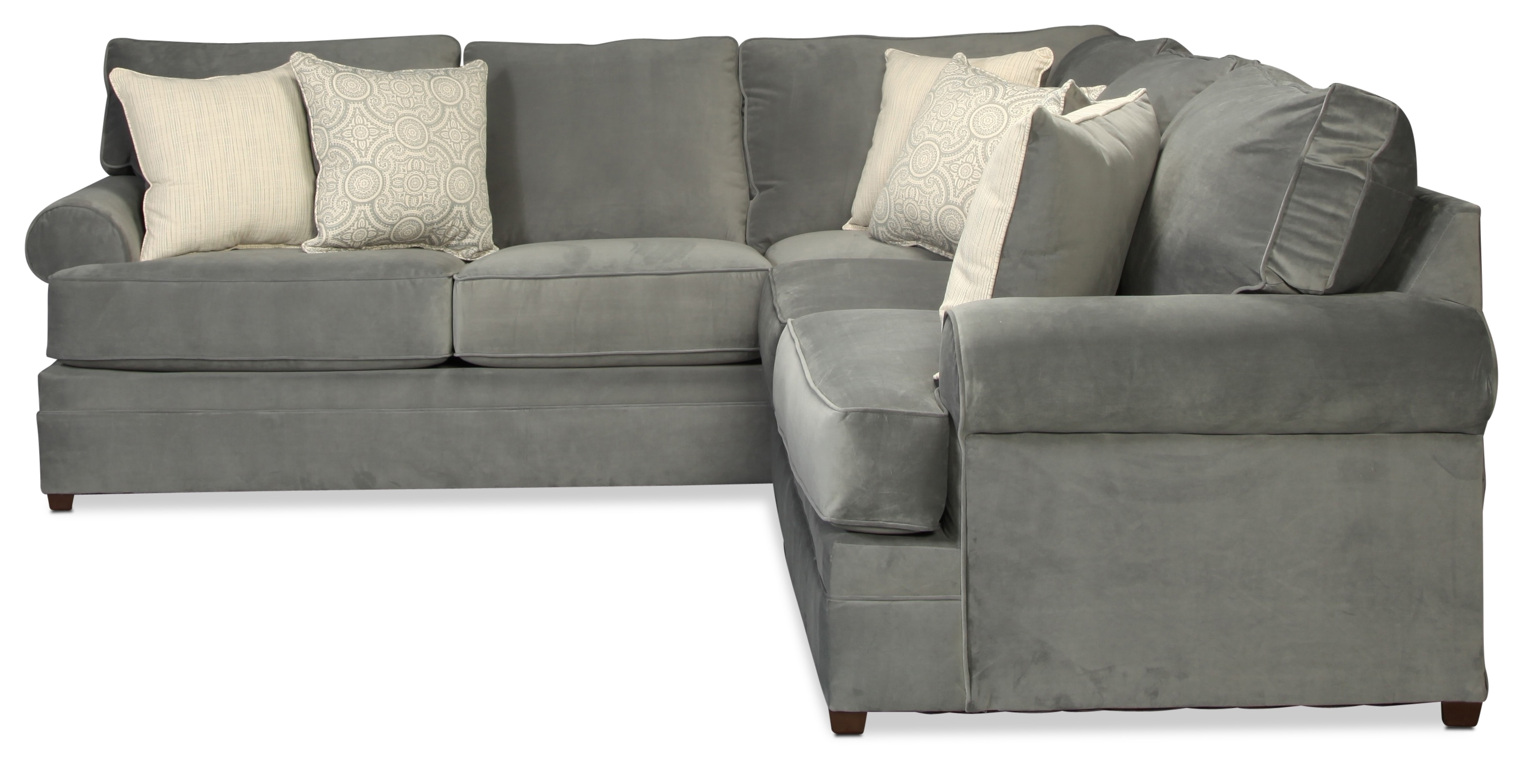 Nyos 2-Piece Sectional - Gray | for Kristen Silver Grey 6 Piece Power Reclining Sectionals (Image 17 of 30)