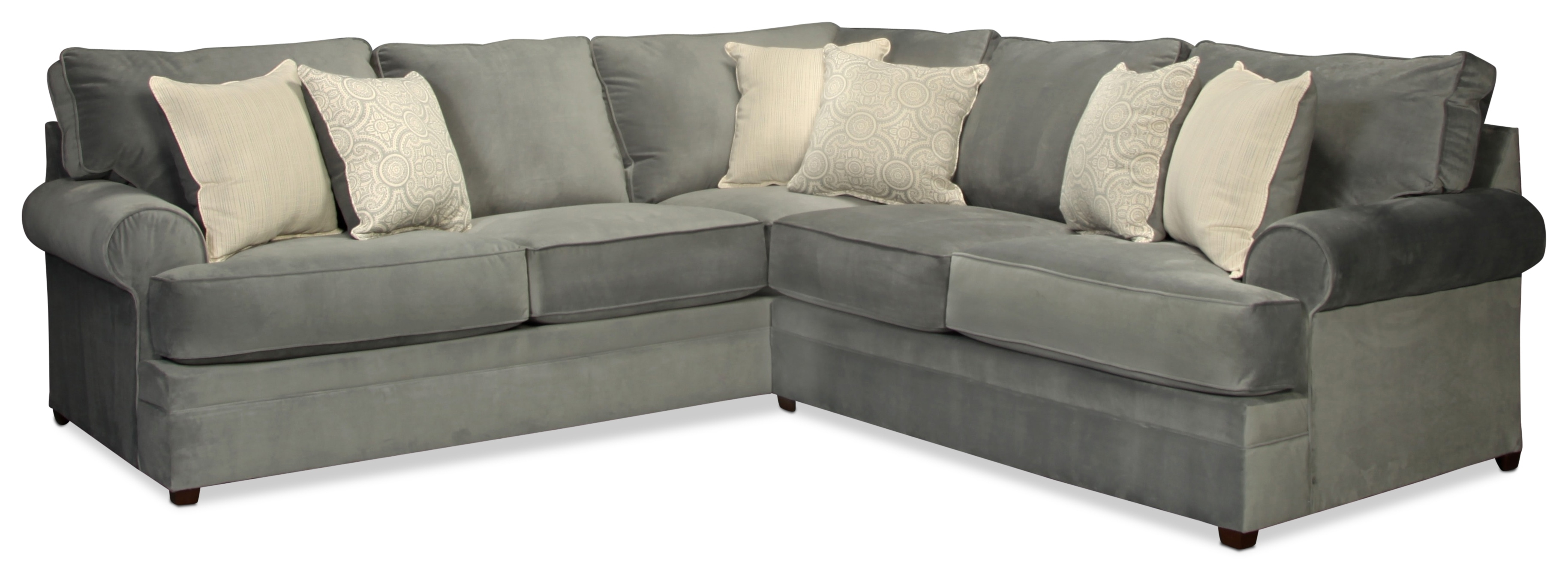 Nyos 2-Piece Sectional - Gray | with Kristen Silver Grey 6 Piece Power Reclining Sectionals (Image 18 of 30)