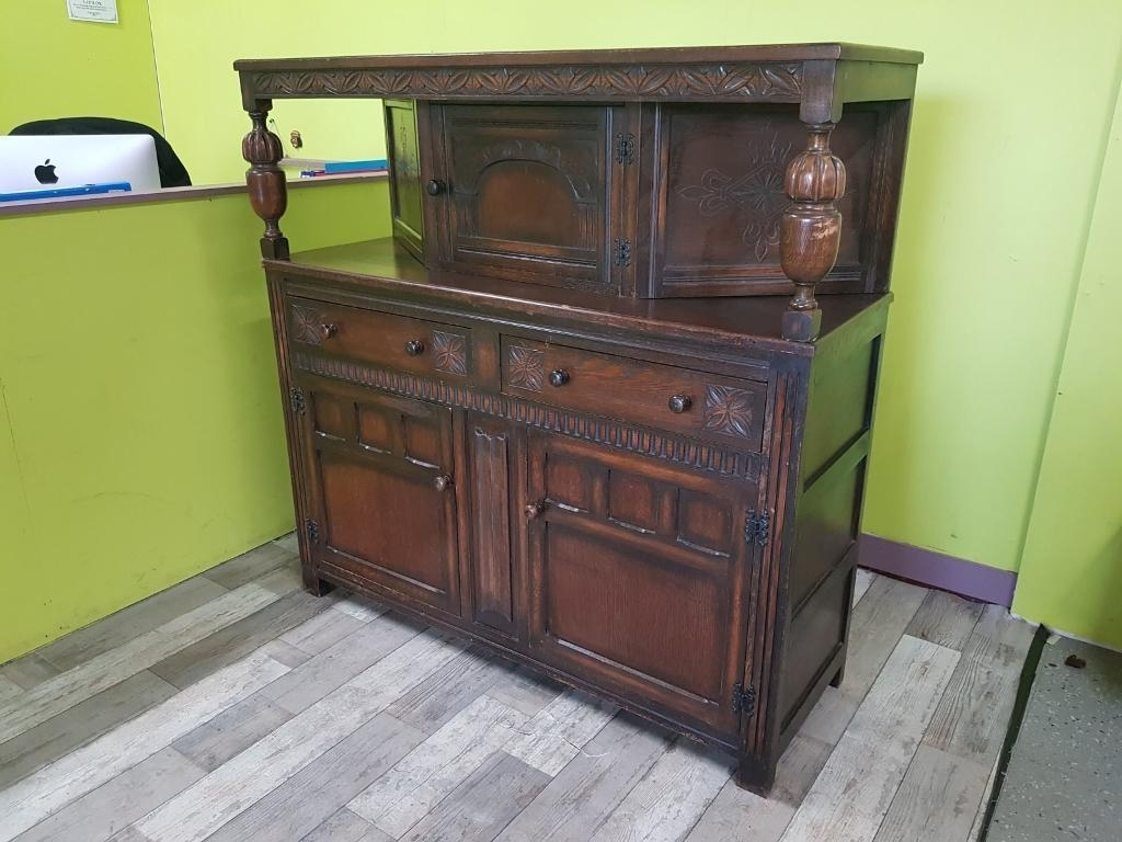 Oak Court Cabinet / Cupboard / Sideboard - Can Deliver For £19 | In throughout Leven Wine Sideboards (Image 20 of 30)