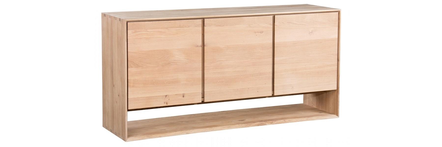 Oak Nordic Sideboard 3 Door in Dark Smoked Oak With White Marble Top Sideboards (Image 15 of 30)