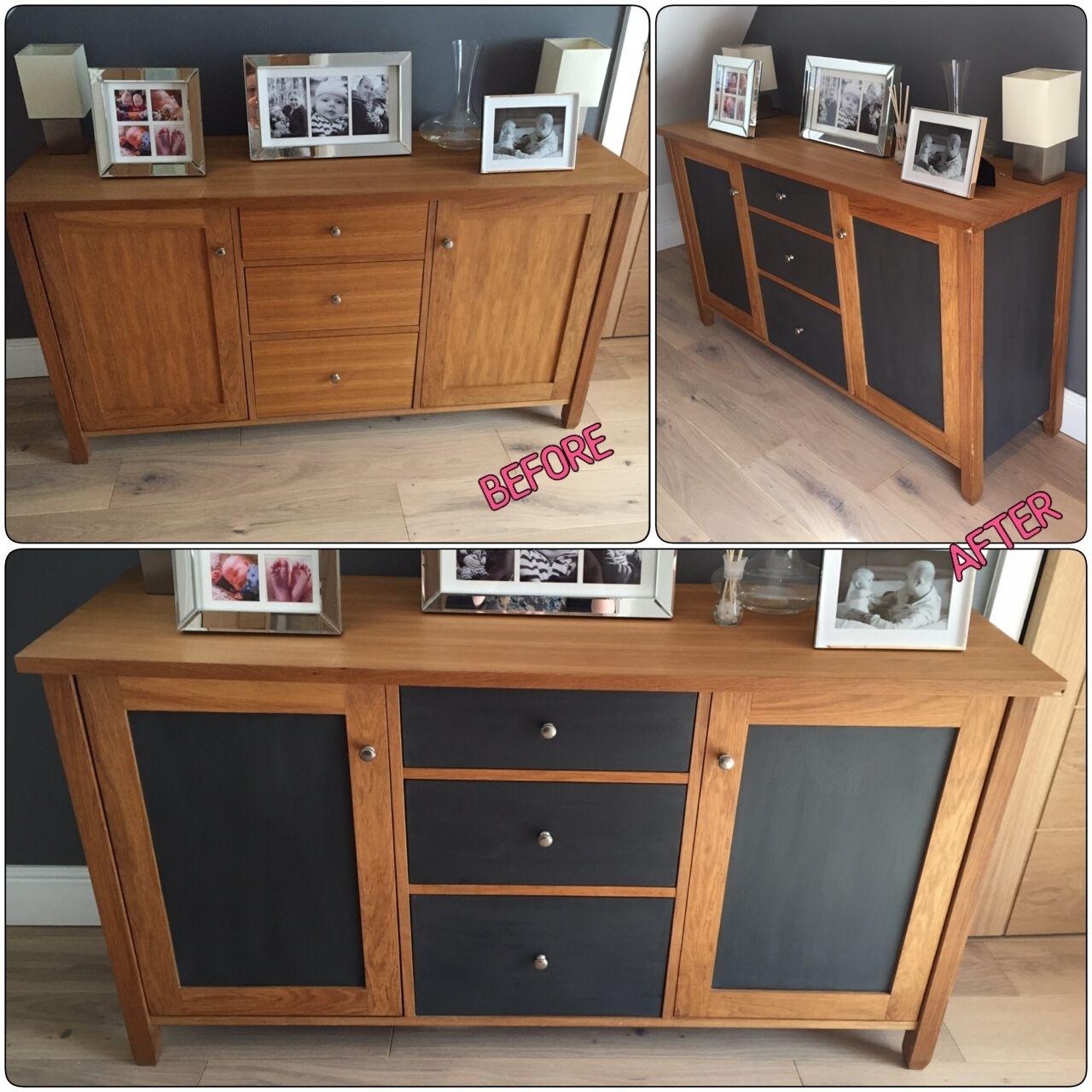 Oak Sideboard Upcycle Before/after. Door Panels, Side Panels And intended for Satin Black & Painted White Sideboards (Image 17 of 30)