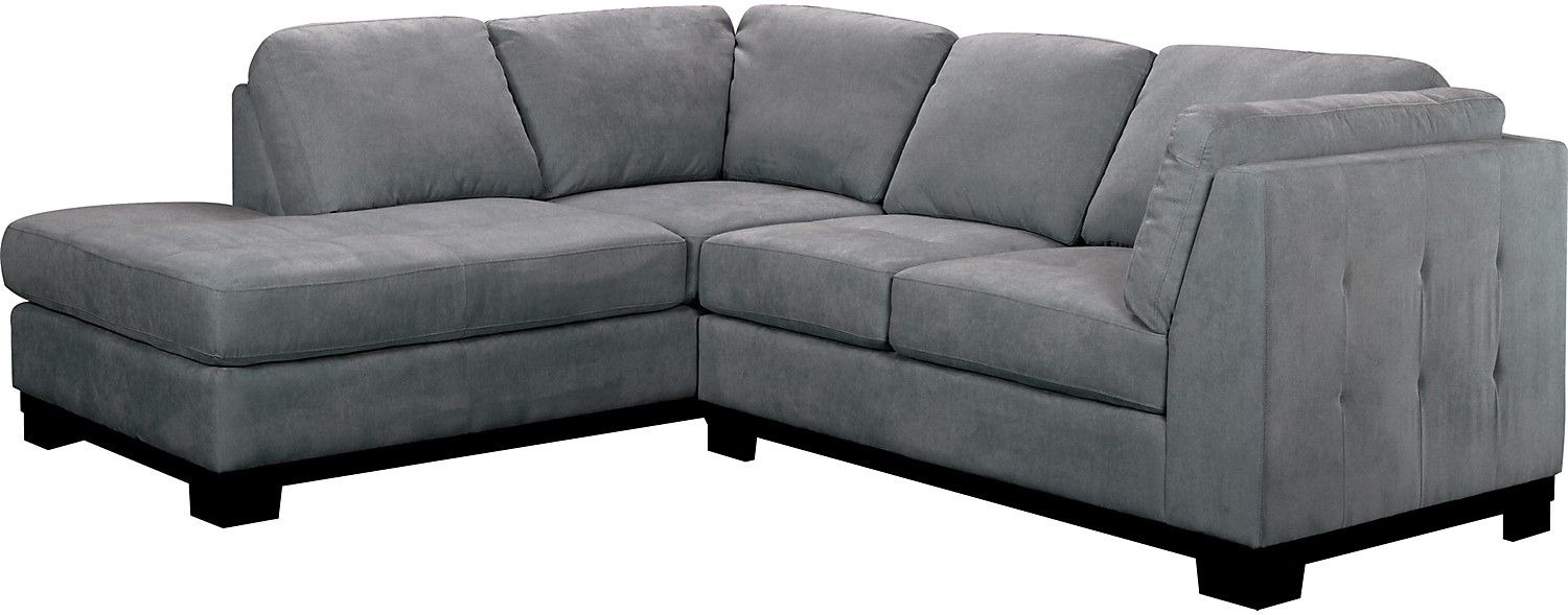 Oakdale 2 Piece Microsuede Sectional W/left Facing Chaise – Grey In Collins Sofa Sectionals With Reversible Chaise (View 20 of 30)