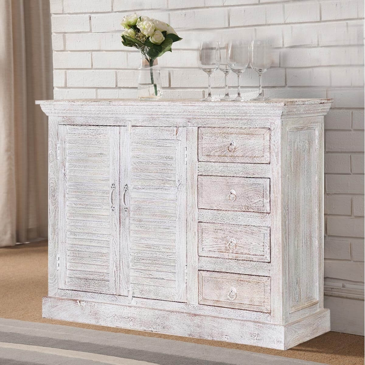 Ohio Rustic White Weathered Finish 2 Door 4 Drawer Sideboard pertaining to Vintage Finish 4-Door Sideboards (Image 16 of 30)