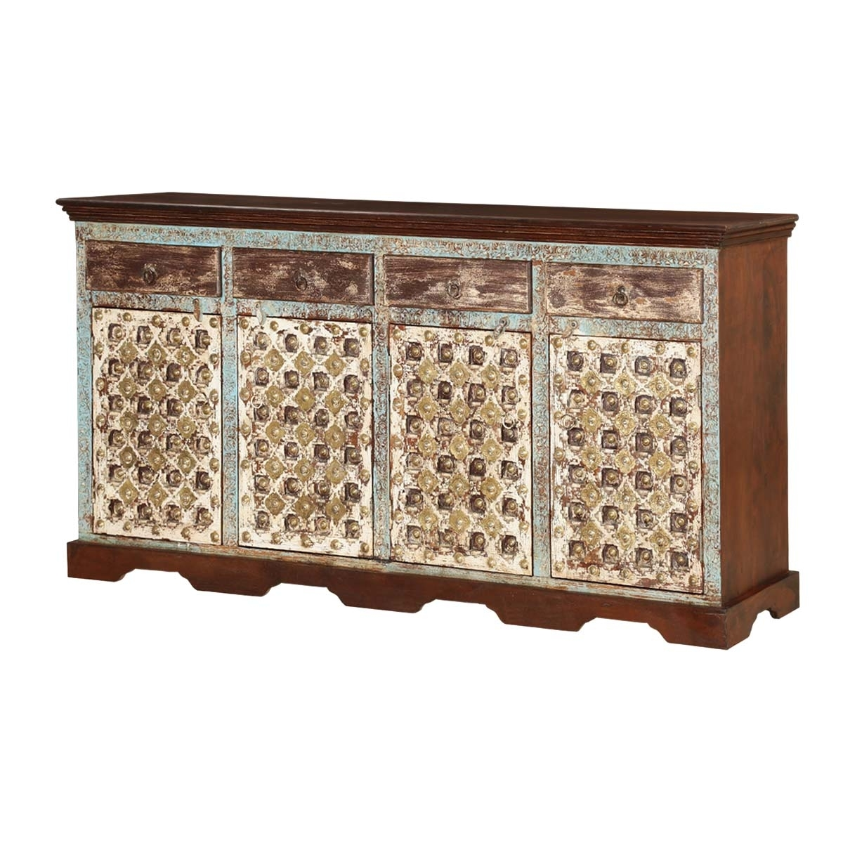 Oklahoma Handcrafted Solid Wood 4 Drawer Sideboard Cabinet within Open Shelf Brass 4-Drawer Sideboards (Image 12 of 30)