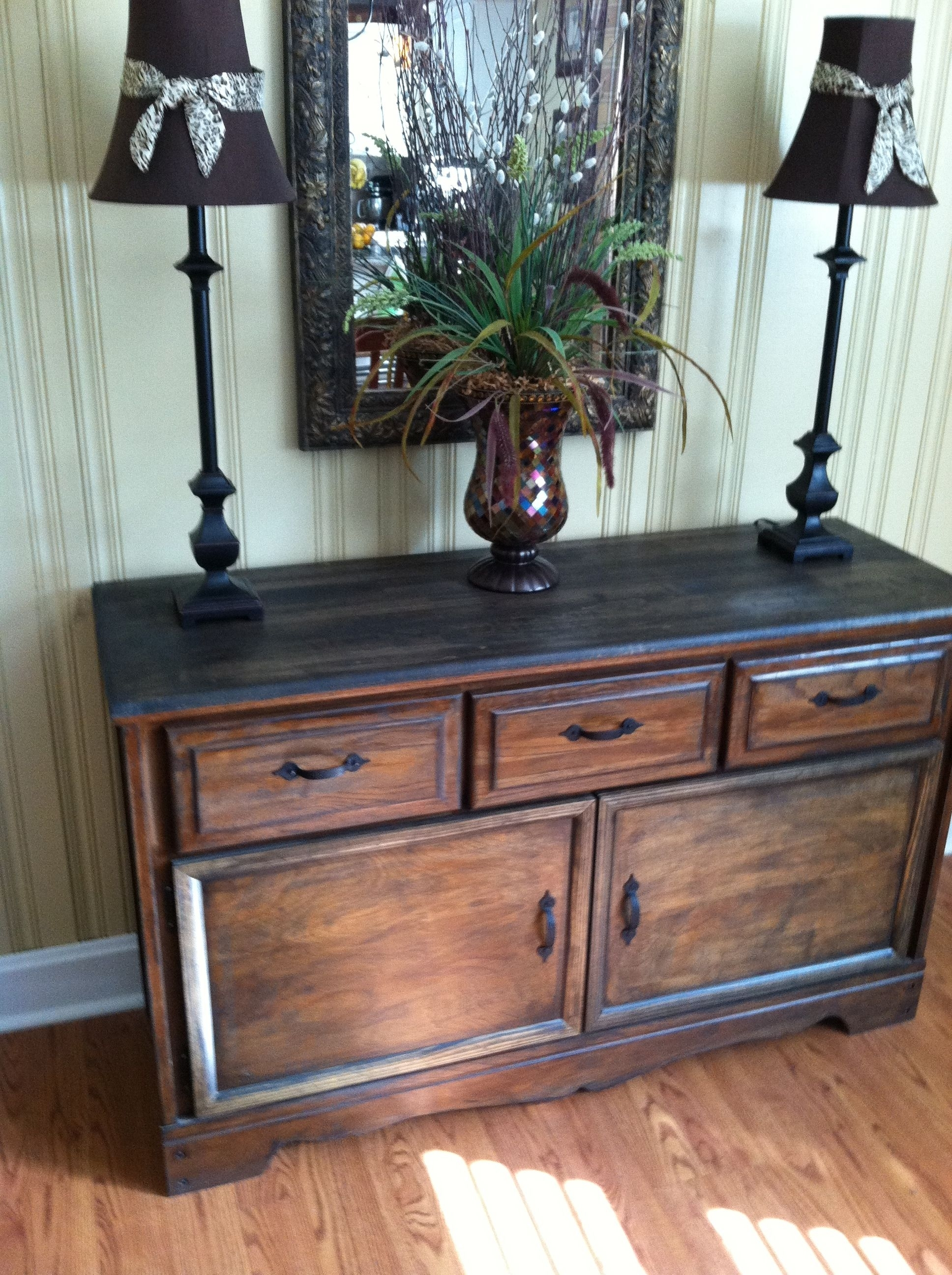 Old Refurbished Dresser Turned Buffet Table $35 Goodwill Find in Cass 2-Door Sideboards (Image 13 of 30)