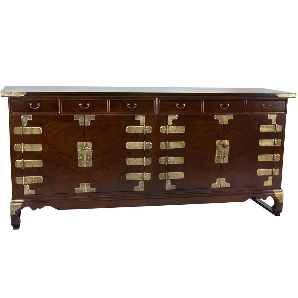 Oriental Furniture Walnut Korean Antique Style Double Cabinet Buffet with regard to Open Shelf Brass 4-Drawer Sideboards (Image 14 of 30)