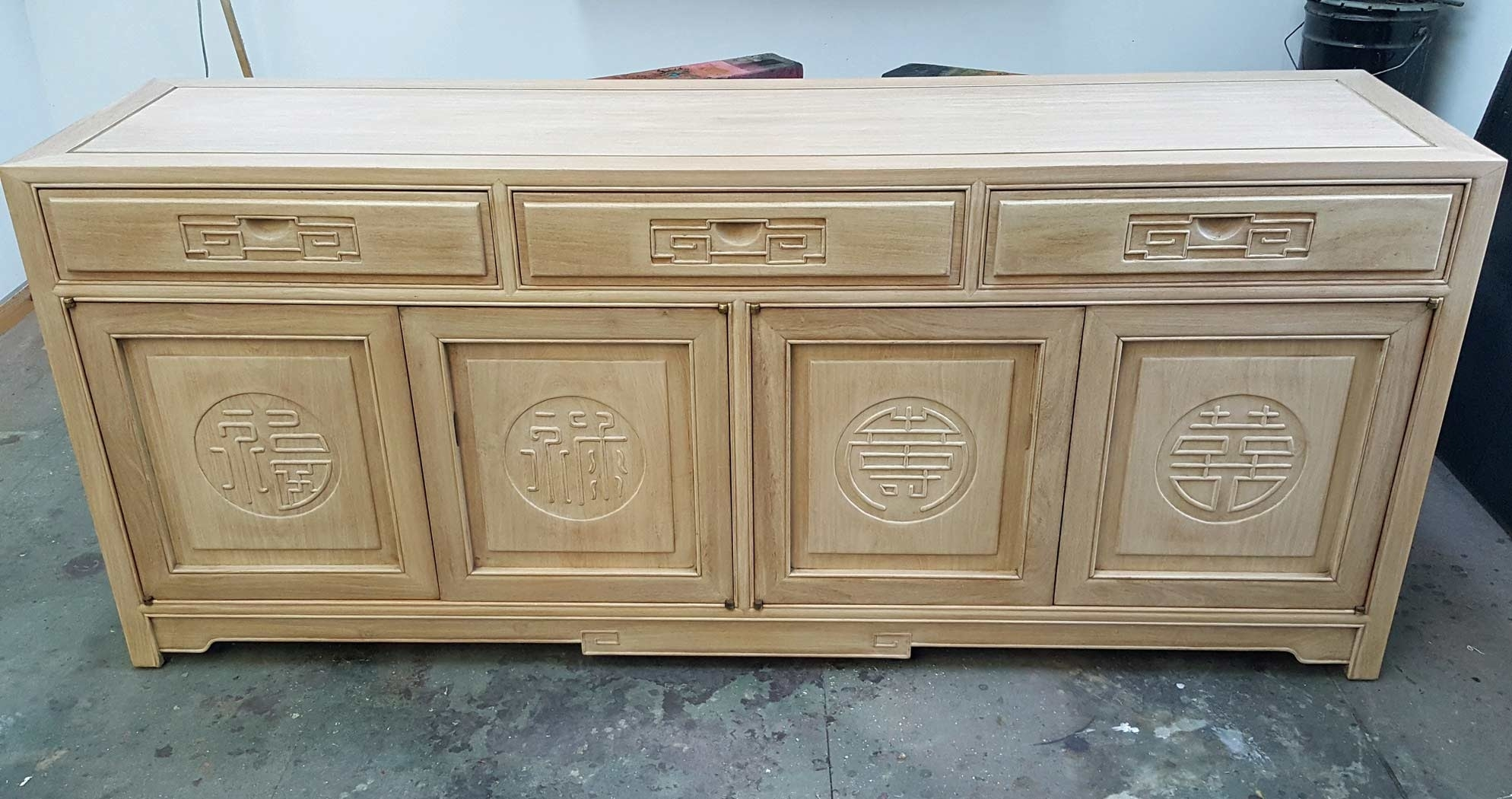Oriental Sideboard Custom Refinish – Scott Doyle Inc regarding Burn Tan Finish 2-Door Sideboards (Image 18 of 30)