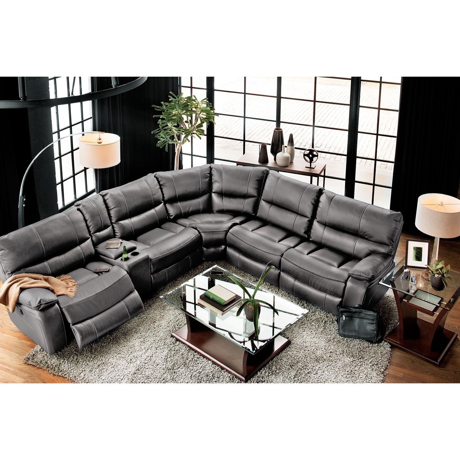 Orlando 6-Piece Power Reclining Sectional With 1 Stationary Chair within Kristen Silver Grey 6 Piece Power Reclining Sectionals (Image 21 of 30)