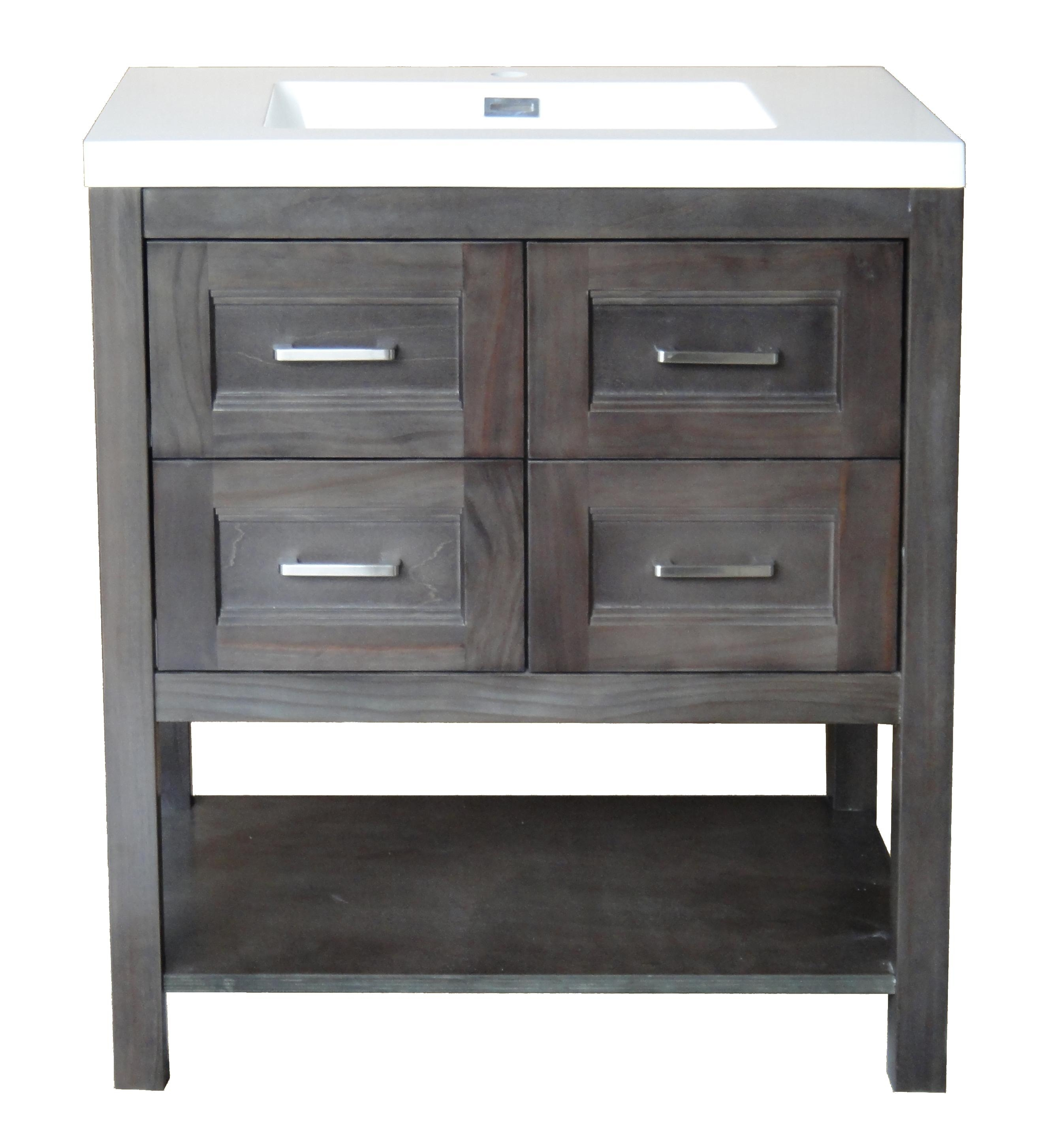 Osage Cabinet Cnv3019-4D-M8 30-Inch Gray 4-Drawer Console Vanity throughout Charcoal Finish 4-Door Jumbo Sideboards (Image 17 of 30)