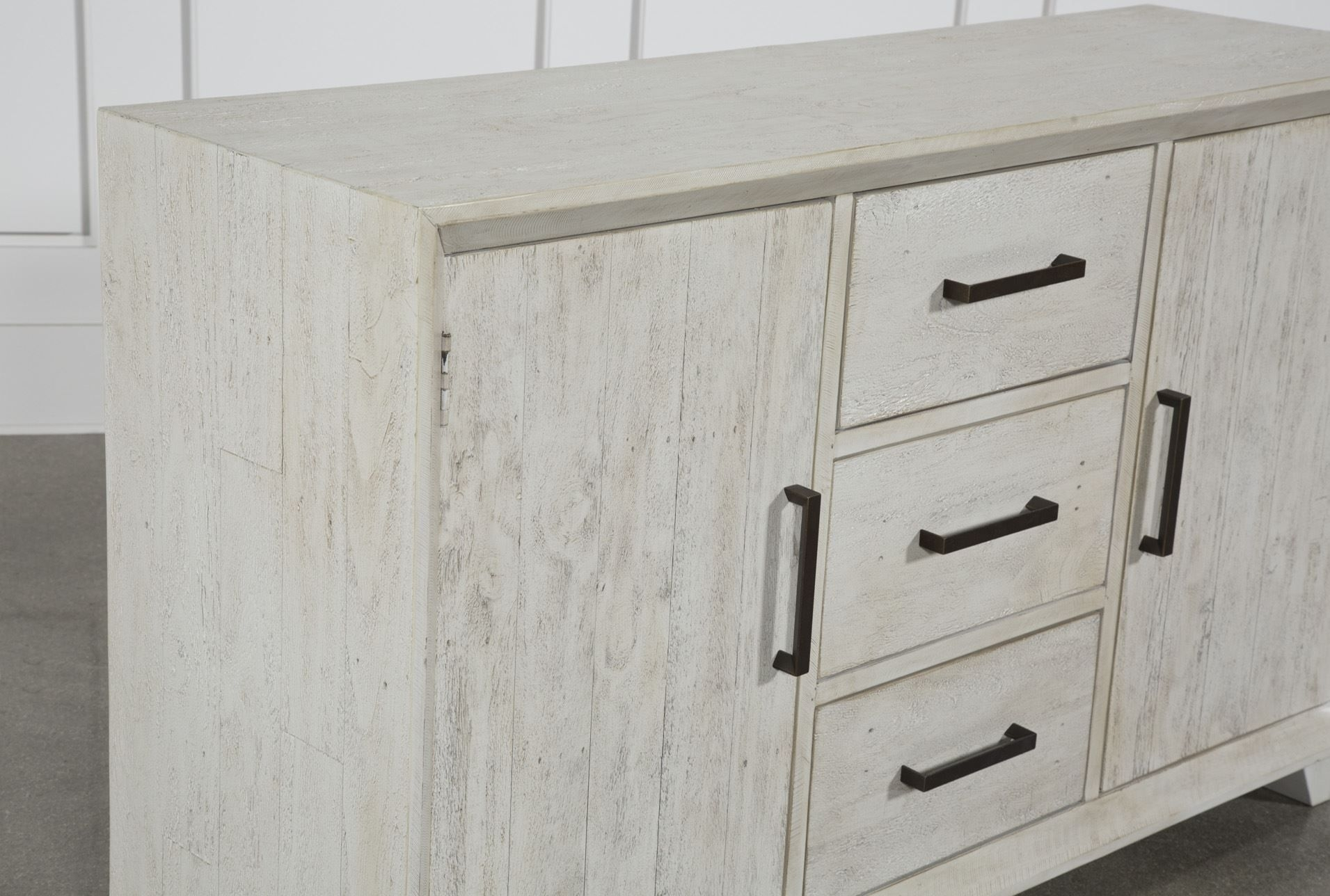 Otb Antique White Distressed 3-Drawer/2-Door Sideboard   Drawers in Antique Walnut Finish 2-Door/4-Drawer Sideboards (Image 20 of 30)