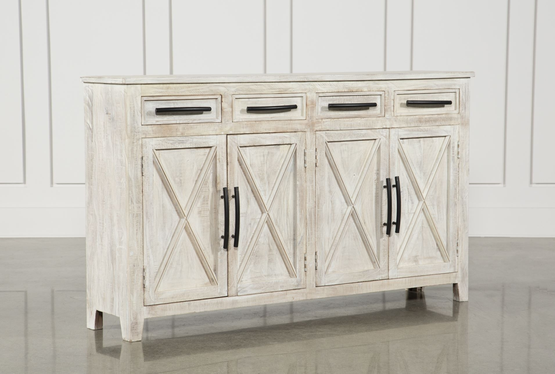 Otb White Wash 4Door3Drawer Glass Sideboard Home throughout Neeja 3-Door Sideboards (Image 14 of 23)