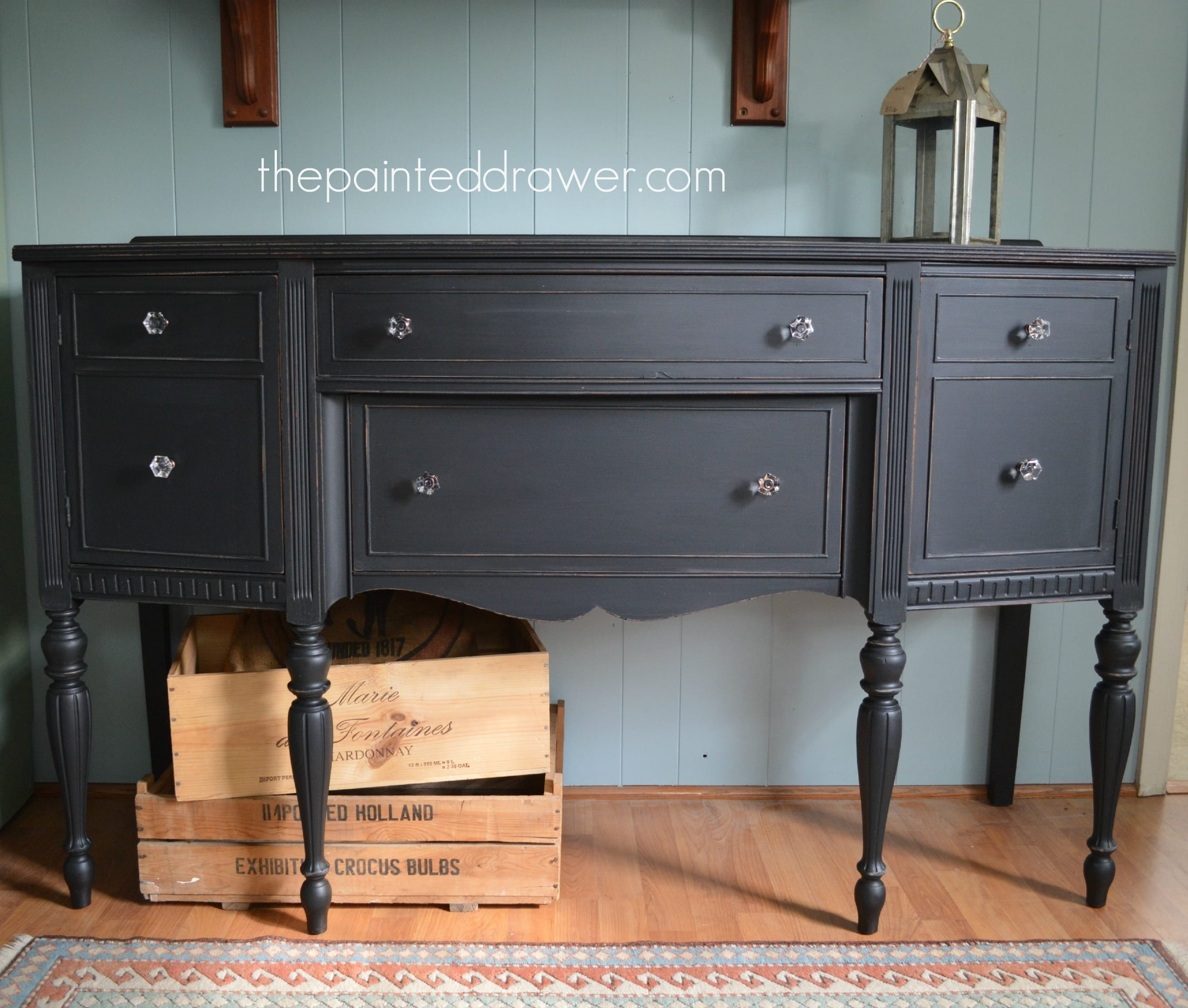 Paint Color Highlight - General Finishes Lamp Black Milk Paint - in Satin Black & Painted White Sideboards (Image 19 of 30)