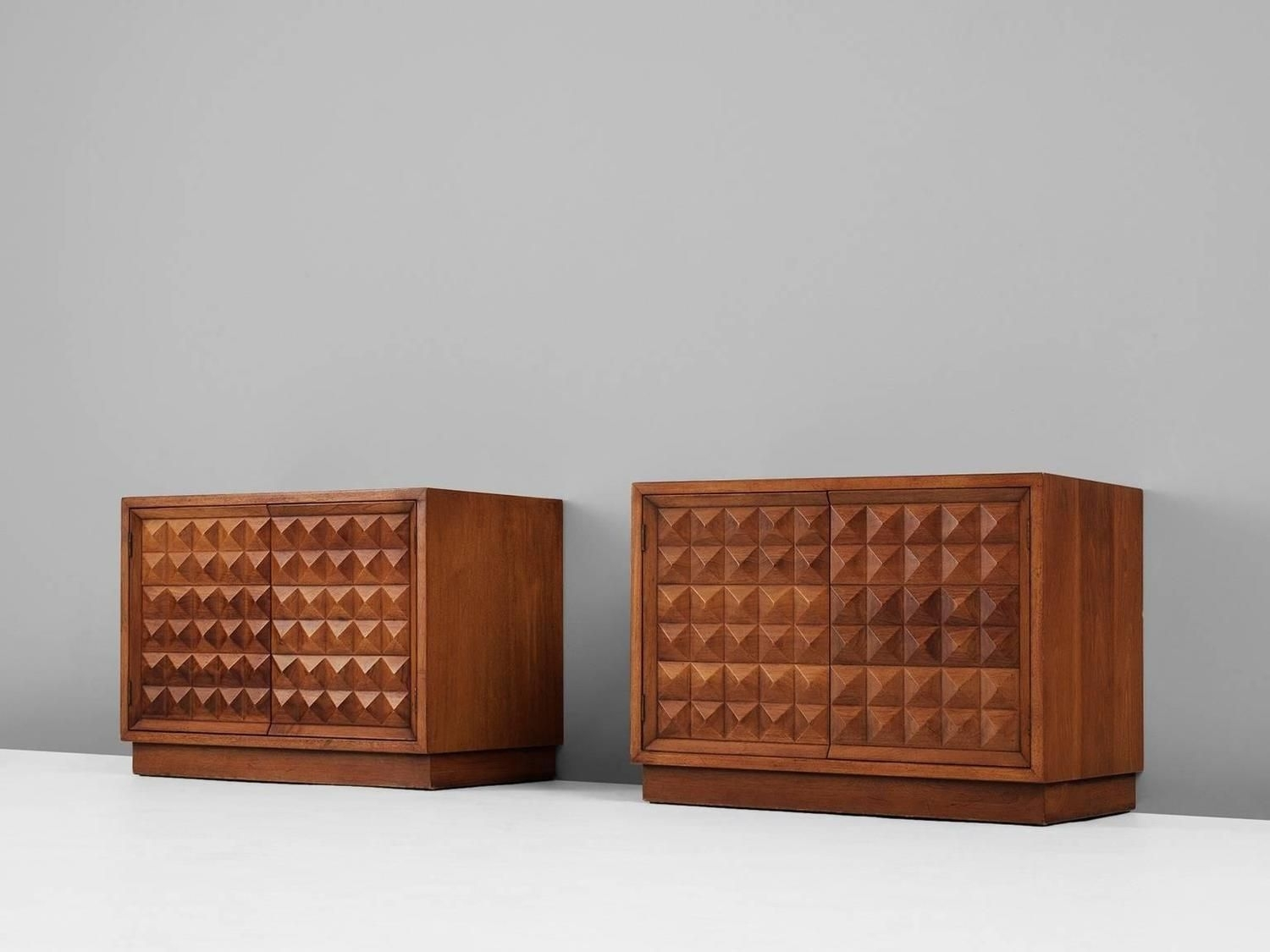 Pair Of Small Brutalist Cabinets In Walnut | Brutalist, Furniture pertaining to Walnut Small Sideboards (Image 17 of 30)