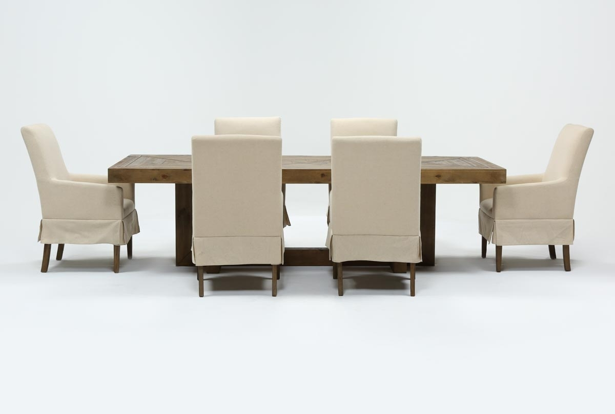 Palazzo 7 Piece Dining Set With Mindy Slipcovered Side Chairs regarding Palazzo 87 Inch Sideboards (Image 21 of 30)