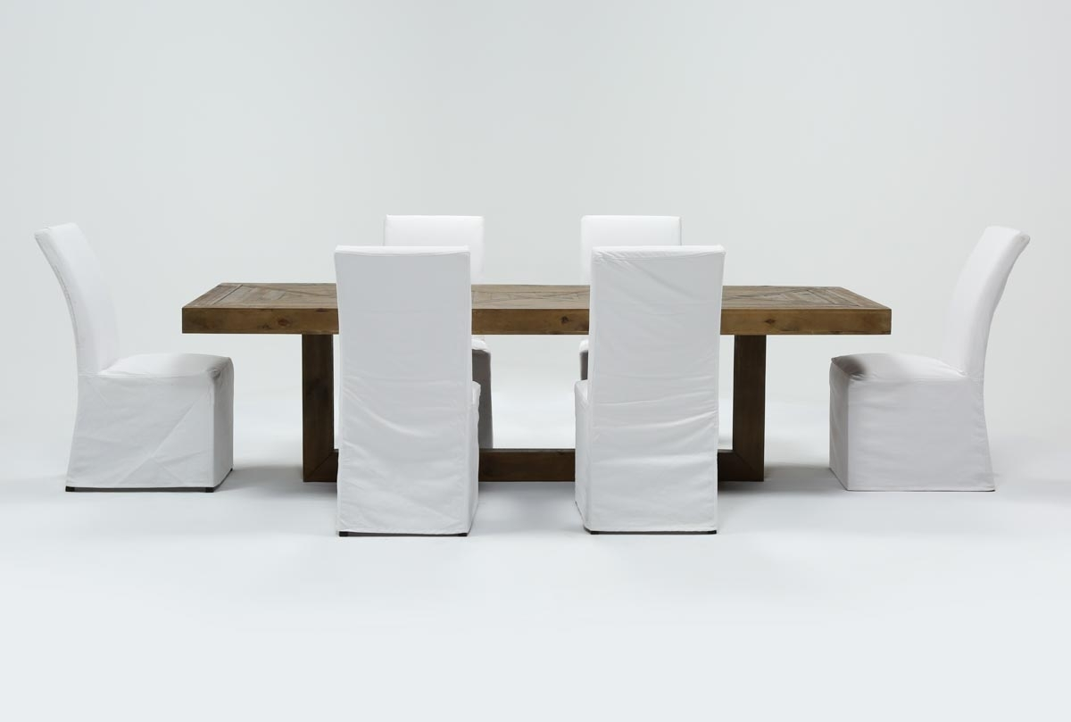 Palazzo 7 Piece Dining Set With Pearson White Side Chairs | Living in Palazzo 87 Inch Sideboards (Image 23 of 30)