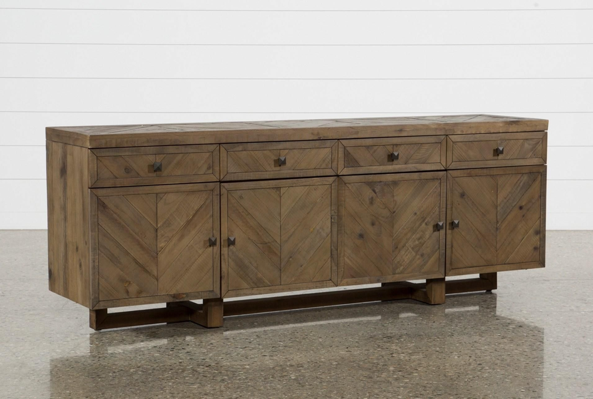 Palazzo 87 Inch Sideboard, Natural | Palazzo, Contemporary Style And inside Parquet Sideboards (Image 15 of 30)