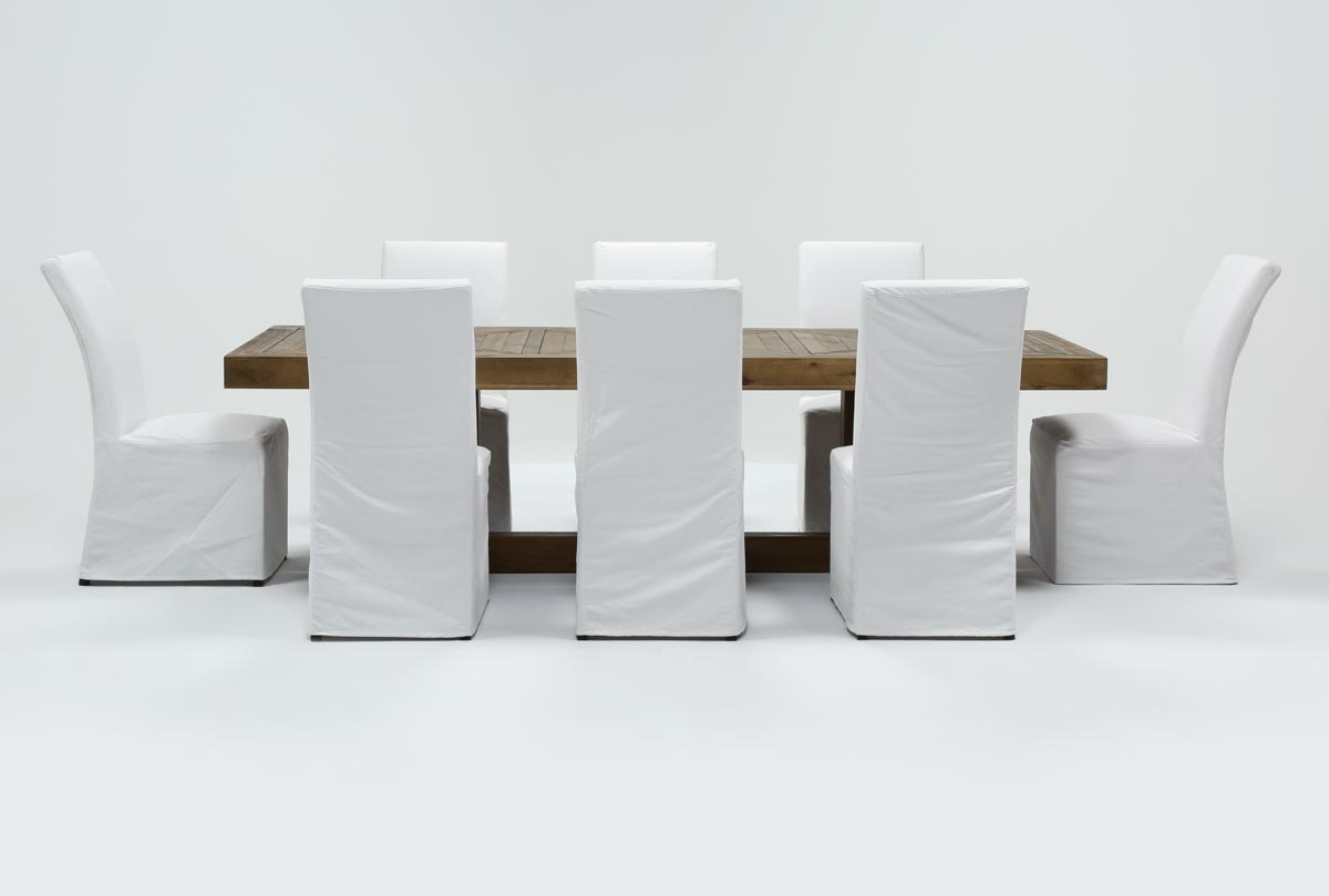 Palazzo 9 Piece Dining Set With Pearson White Side Chairs | Living with Palazzo 87 Inch Sideboards (Image 25 of 30)
