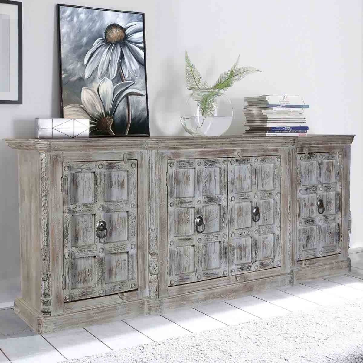 Palazzo Distressed Handcrafted 4 Door Large Rustic Buffet Cabinet inside Vintage Finish 4-Door Sideboards (Image 17 of 30)