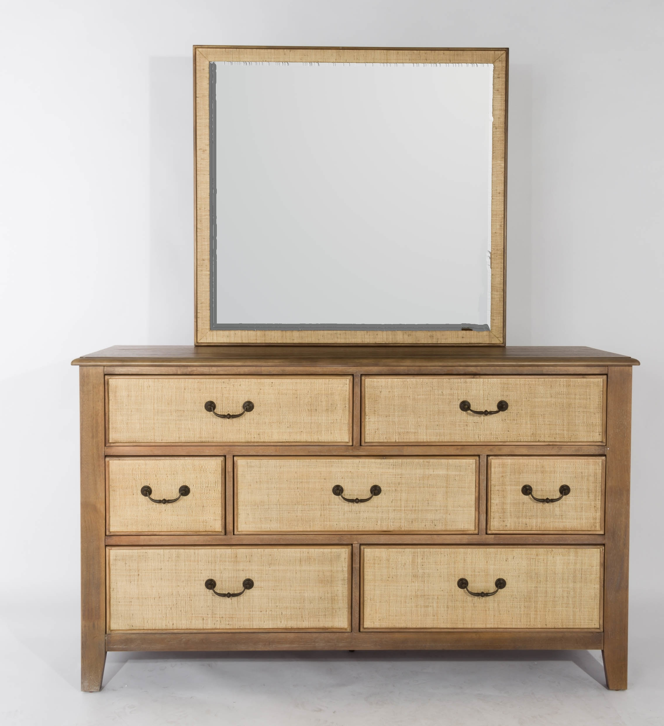 Panama Jack Linen 7 Drawer Dresser With Mirror | Wayfair With Bale Rustic Grey Sideboards (Photo 10 of 30)