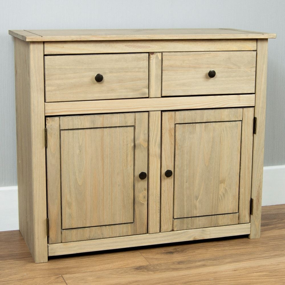 Panama Sideboard 2 Door 2 Drawer Cupboard Chest Natural Wooden Solid In Natural Oak Wood 2 Door Sideboards (Photo 11 of 30)