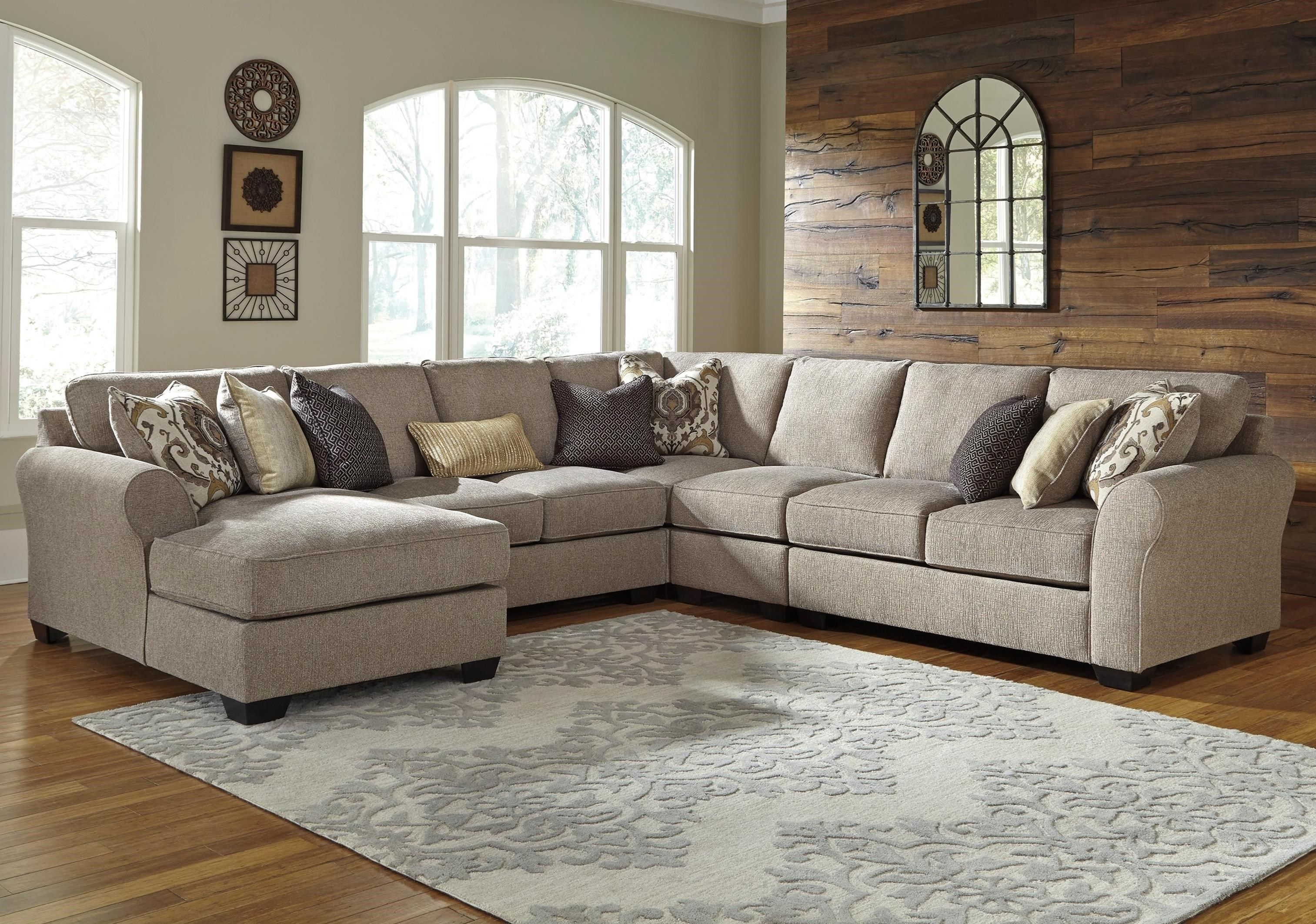 Pantomine 5-Piece Sectional With Left Chaisebenchcraft At pertaining to Denali Charcoal Grey 6 Piece Reclining Sectionals With 2 Power Headrests (Image 21 of 30)