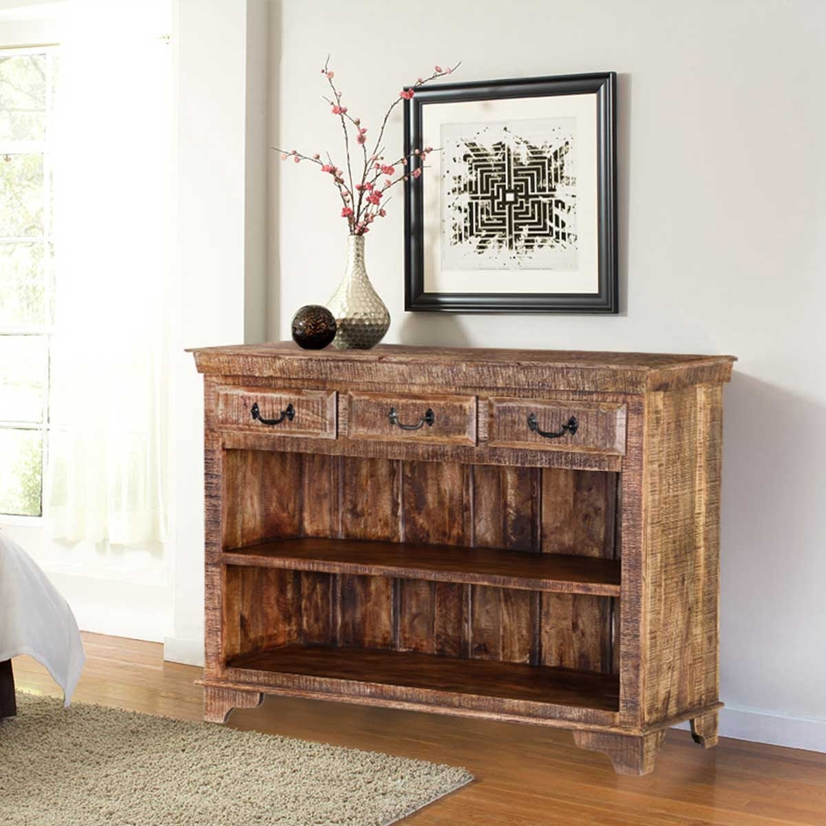 Phoenix Natural Finish Rustic Mango Wood Display Sideboard W 3 Drawers Intended For Natural Mango Wood Finish Sideboards (Photo 8 of 30)