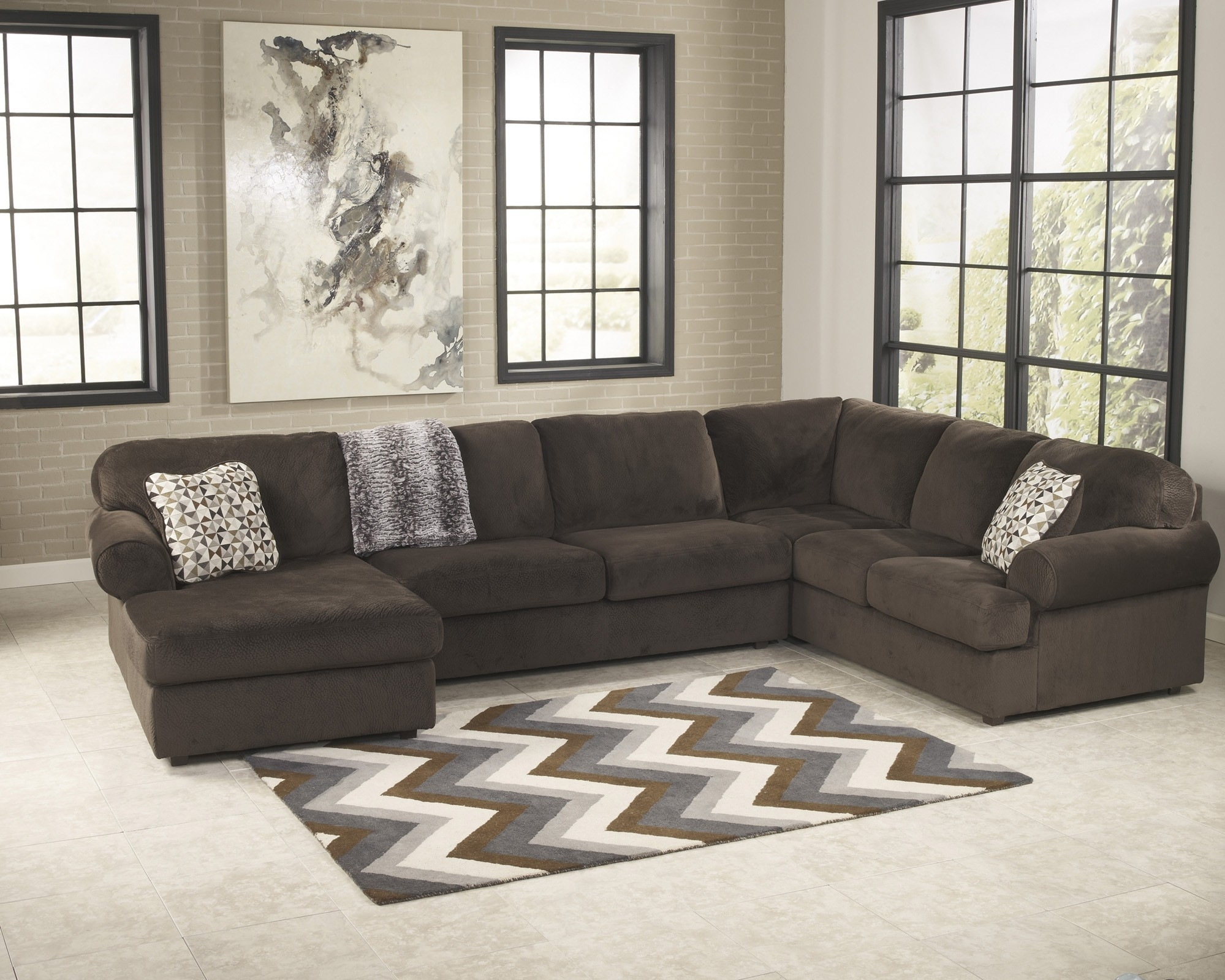 Piece Sectional Sofas Awesome Jessa Place Chocolate Sofa For Within throughout Meyer 3 Piece Sectionals With Laf Chaise (Image 18 of 30)