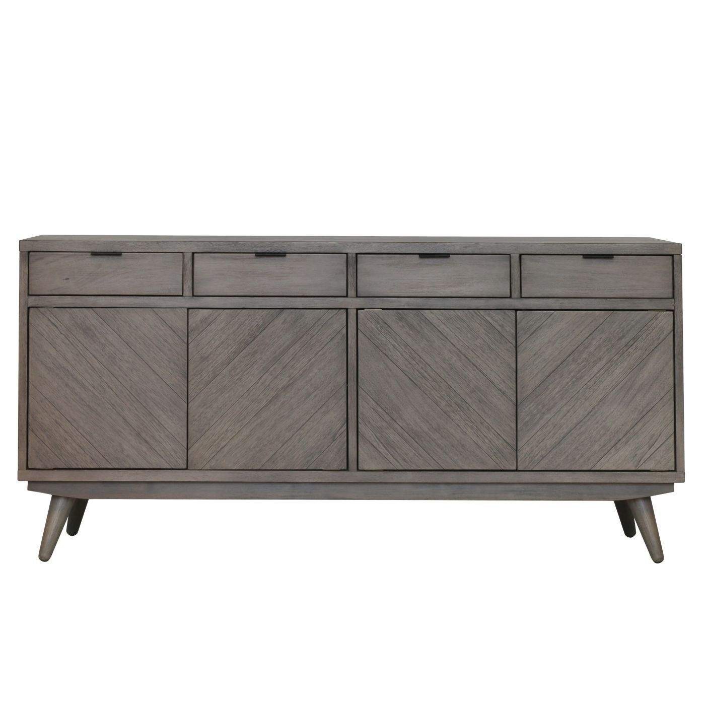 Piero Chevron Buffet 4 Drawers + 4 Doors, Weathered Gray | Products With Regard To Brown Chevron 4 Door Sideboards (Photo 1 of 30)