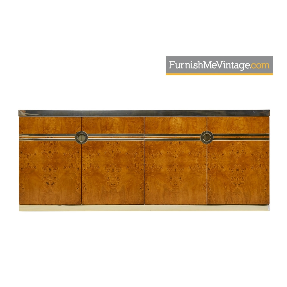 Pierre Cardin Credenza   1970S Burl Wood And Brass Accent Sideboard With Aged Brass Sideboards (Photo 20 of 30)