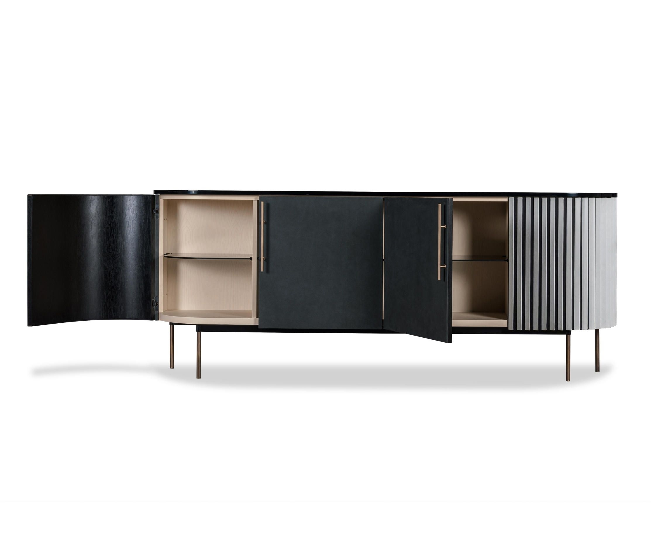 Plissé Low Cabinetbaxter | Sideboards | Furniture-Cabinet-Low within Open Shelf Brass 4-Drawer Sideboards (Image 15 of 30)
