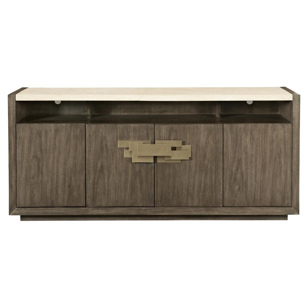 Portia Hollywood Regency Walnut Travertine Stone Top 4 Door Sideboard for 4-Door/4-Drawer Metal Inserts Sideboards (Image 25 of 30)