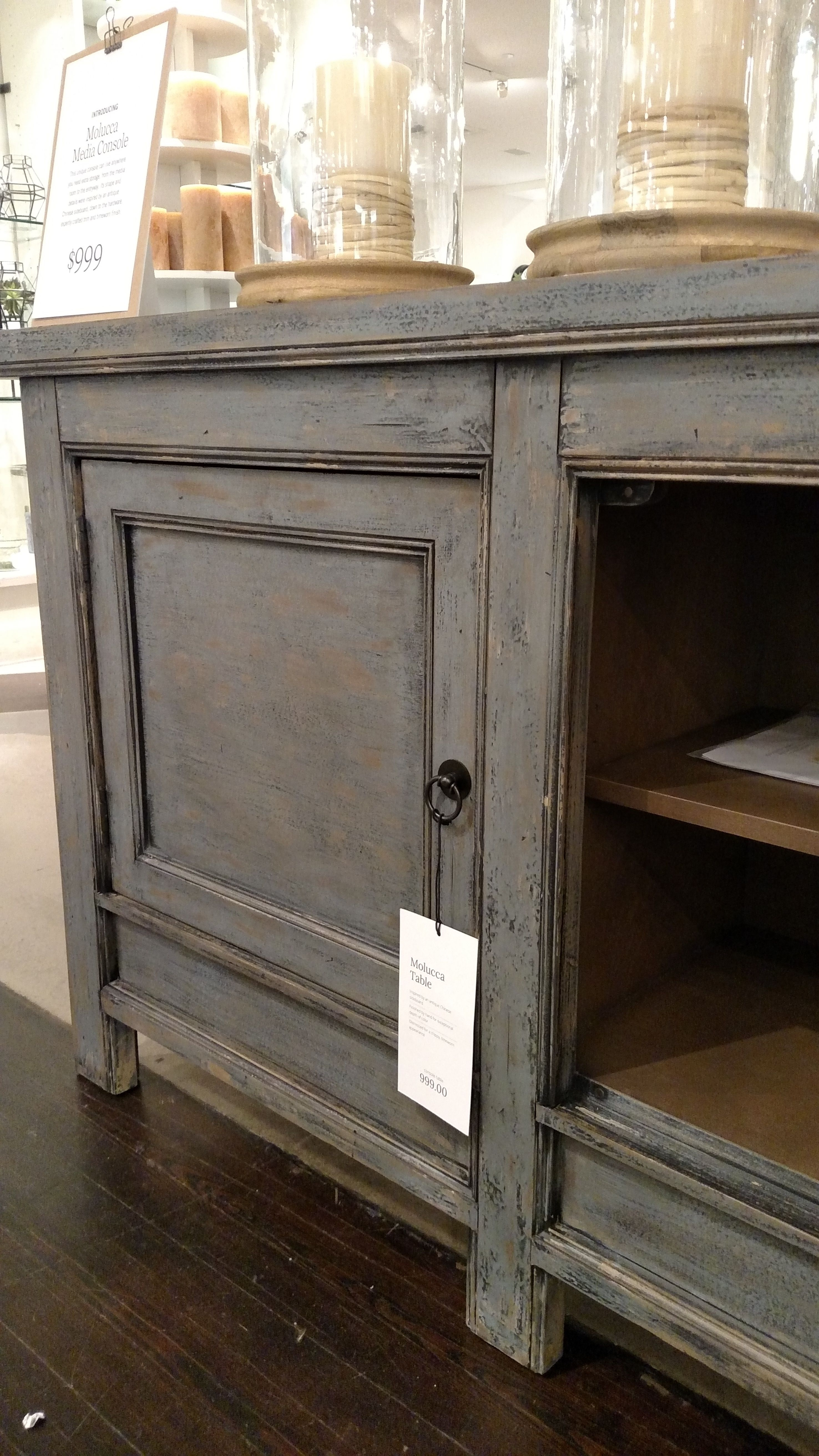 Pottery Barn Molucca Media Console Table Cabinet Buffet Sideboard inside Blue Stone Light Rustic Black Sideboards (Image 21 of 30)