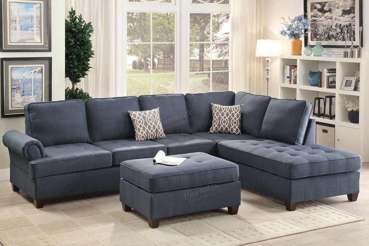 Poundex 2-Pcs Sectional Sofa F6991 Description : Go Metro With This pertaining to Karen 3 Piece Sectionals (Image 18 of 30)