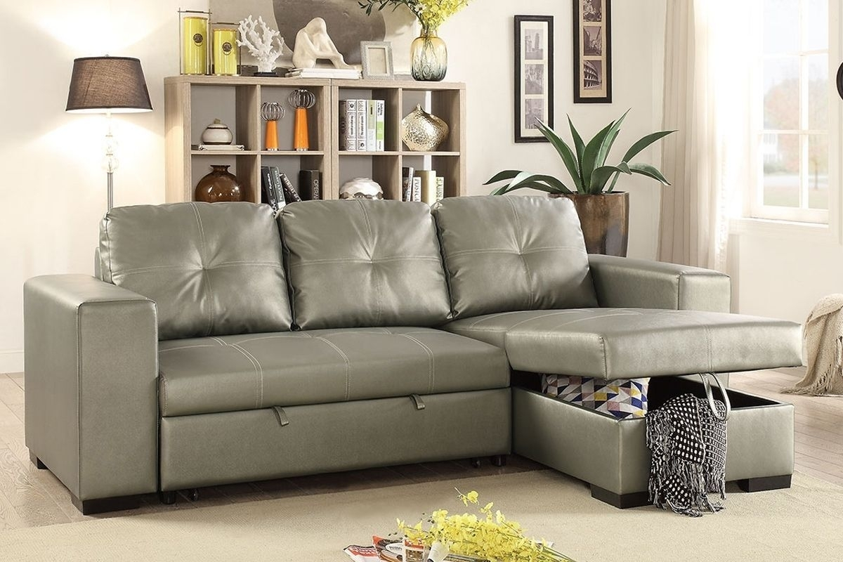 Poundex F6919 Silver Faux Leather Convertible Sectional Sofa Bed pertaining to Aidan 4 Piece Sectionals (Image 23 of 30)