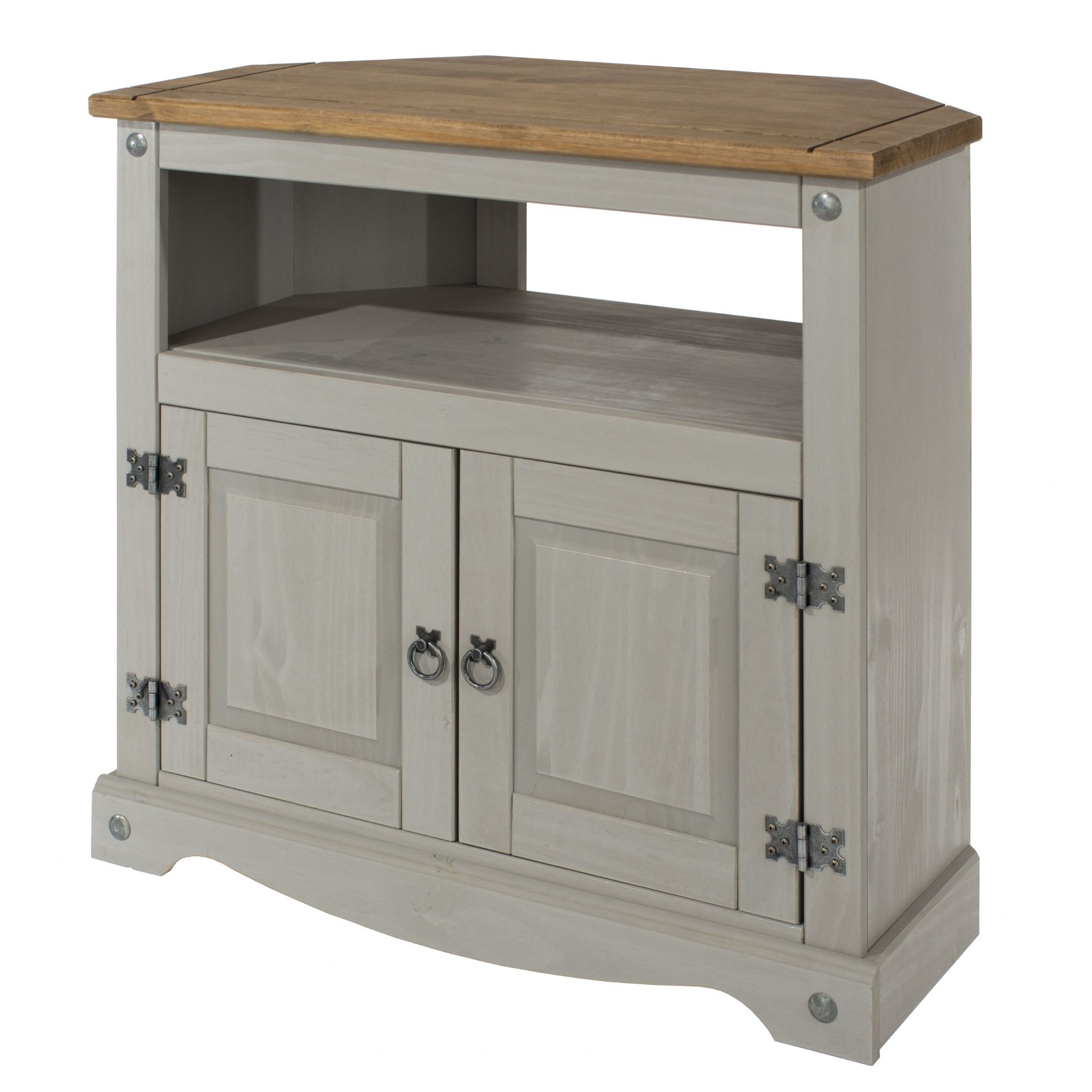 Premium Corona Grey Wash Corner Tv Unit With Natural Pine Top Inside Natural South Pine Sideboards (Photo 13 of 30)
