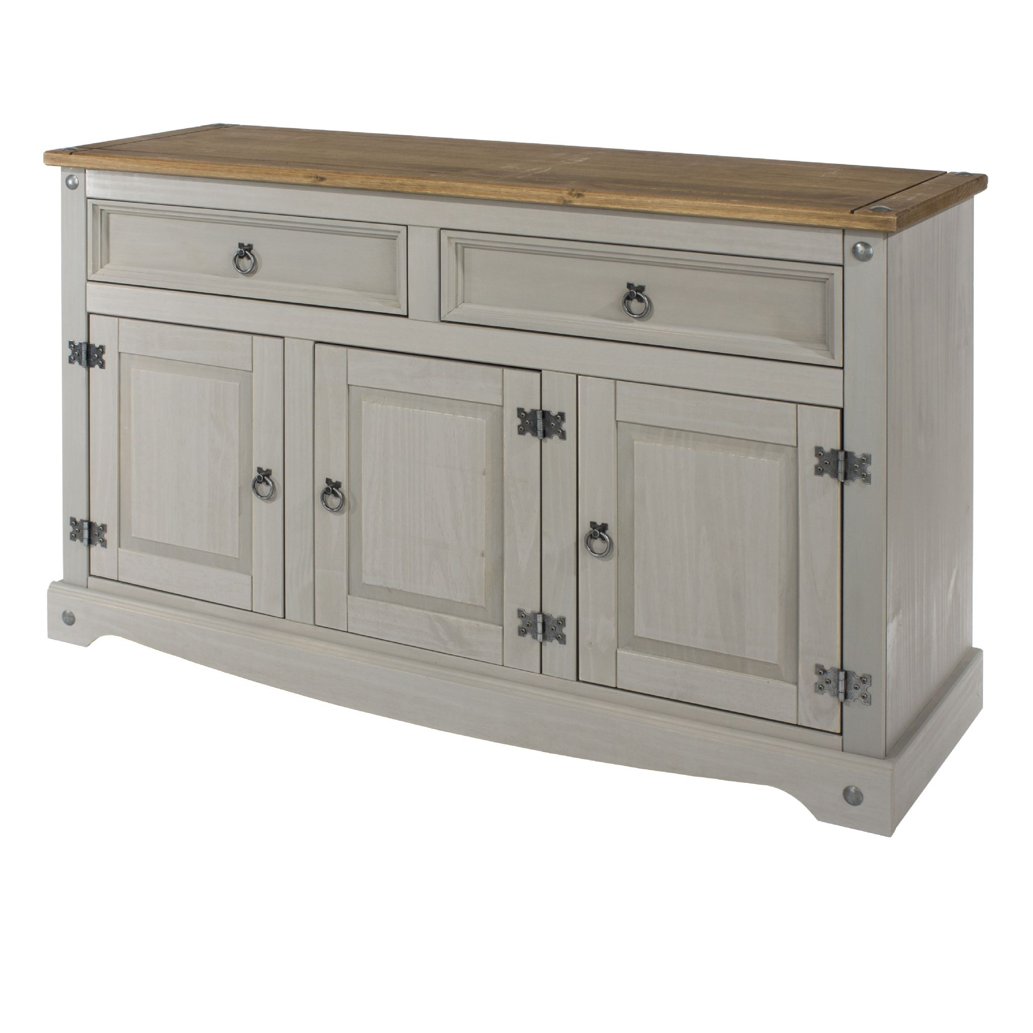 Premium Corona Grey Wash Medium Sideboard With Solid Natural Pine Top with Natural South Pine Sideboards (Image 17 of 30)