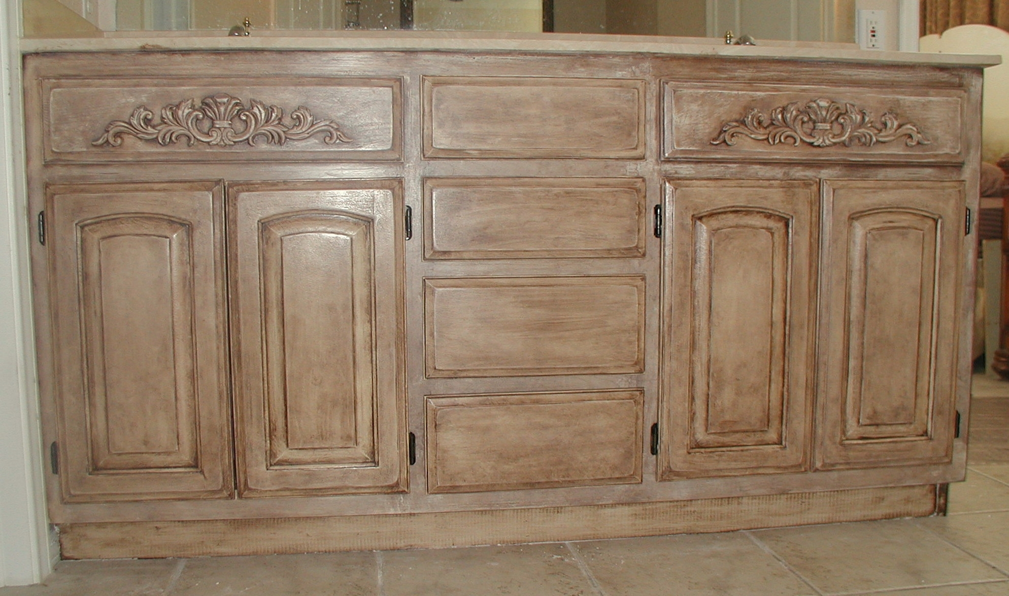 Project: Transforming Builder Grade Cabinets To Old World (Ascp Old for White Wash Carved Door Jumbo Sideboards (Image 24 of 30)