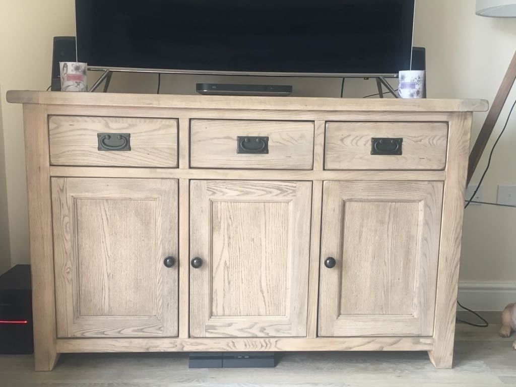 Provence Solid Oak Large Sideboard   In Great Condition! Less Than A Inside Burnt Oak Wood Sideboards (Photo 15 of 30)