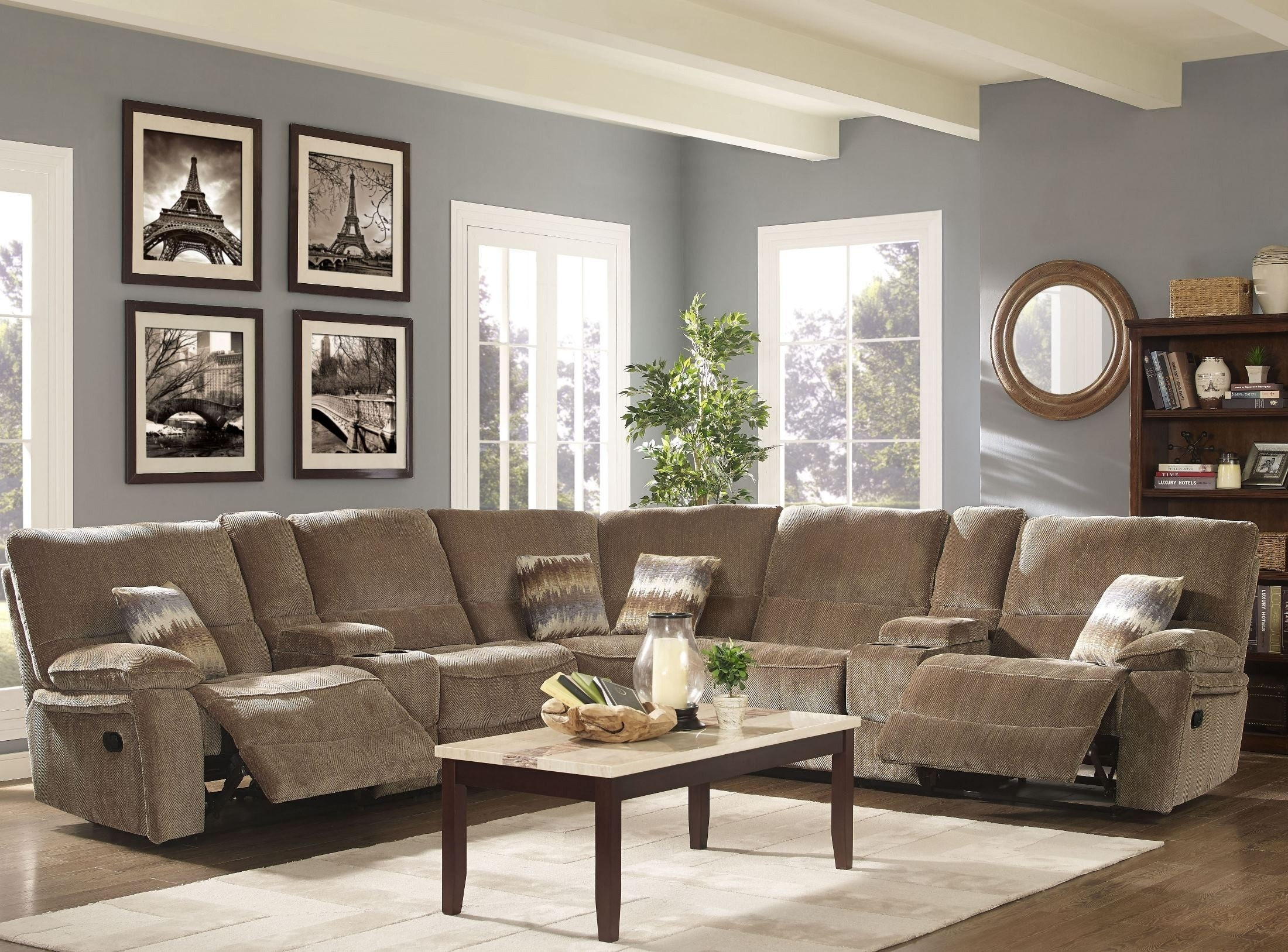 Ranger Bravo Sandalwood Power Reclining Sectional From New Classic regarding Turdur 2 Piece Sectionals With Laf Loveseat (Image 24 of 30)