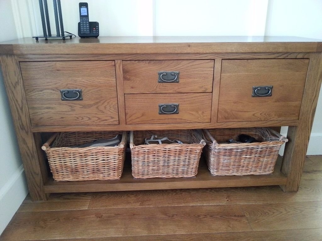 Reclaimed Oak Sideboard/hall Table With Drawers. Includes Rattan pertaining to Reclaimed 3 Drawer Icebox Sideboards (Image 15 of 30)