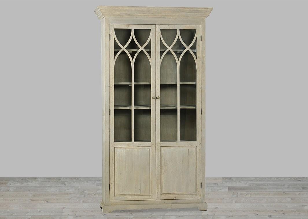 Reclaimed Pine Glass Door Sideboard With Antique Grey Finish with regard to Reclaimed Pine 4-Door Sideboards (Image 22 of 30)