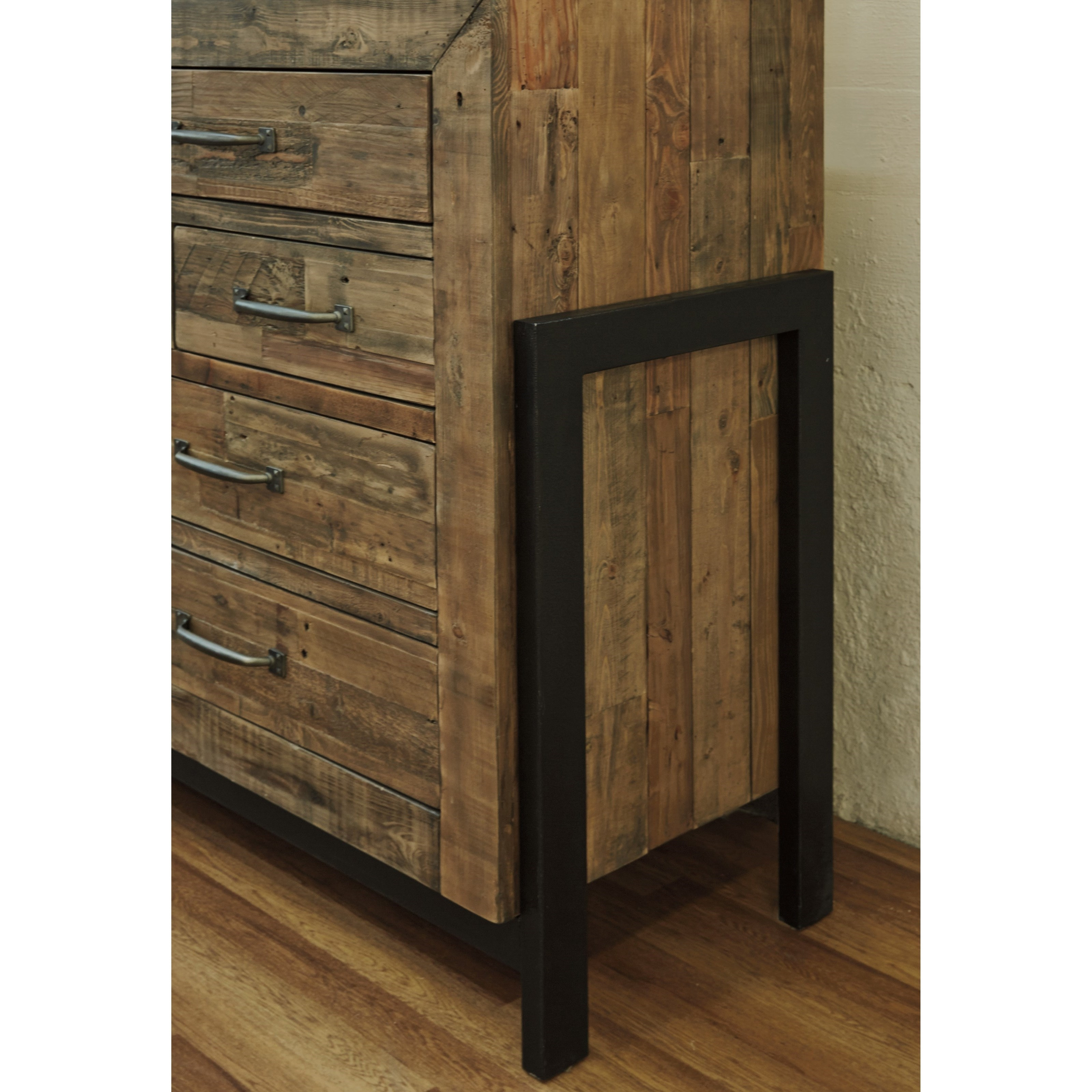 Reclaimed Pine Solid Wood Dresser With Metal Framesignature in Metal Framed Reclaimed Wood Sideboards (Image 18 of 30)