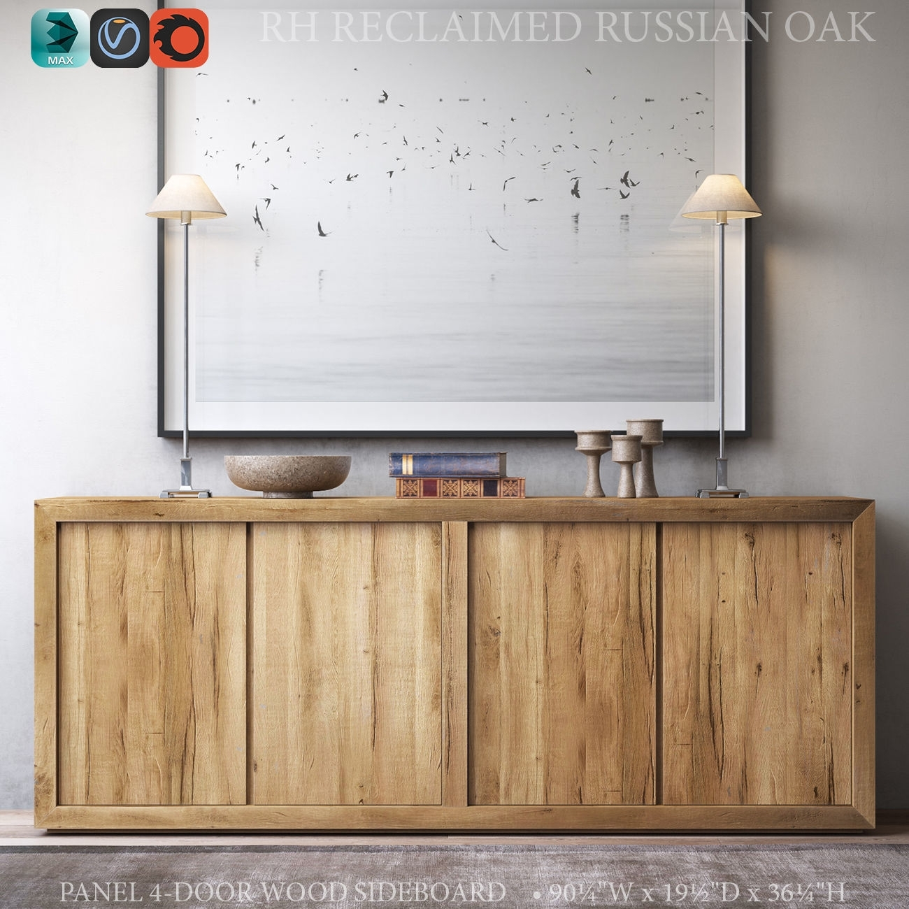 Reclaimed Russian Oak Panel 4-Door Wood Sideboard 3D Model Max Obj within Reclaimed Sideboards With Metal Panel (Image 16 of 30)