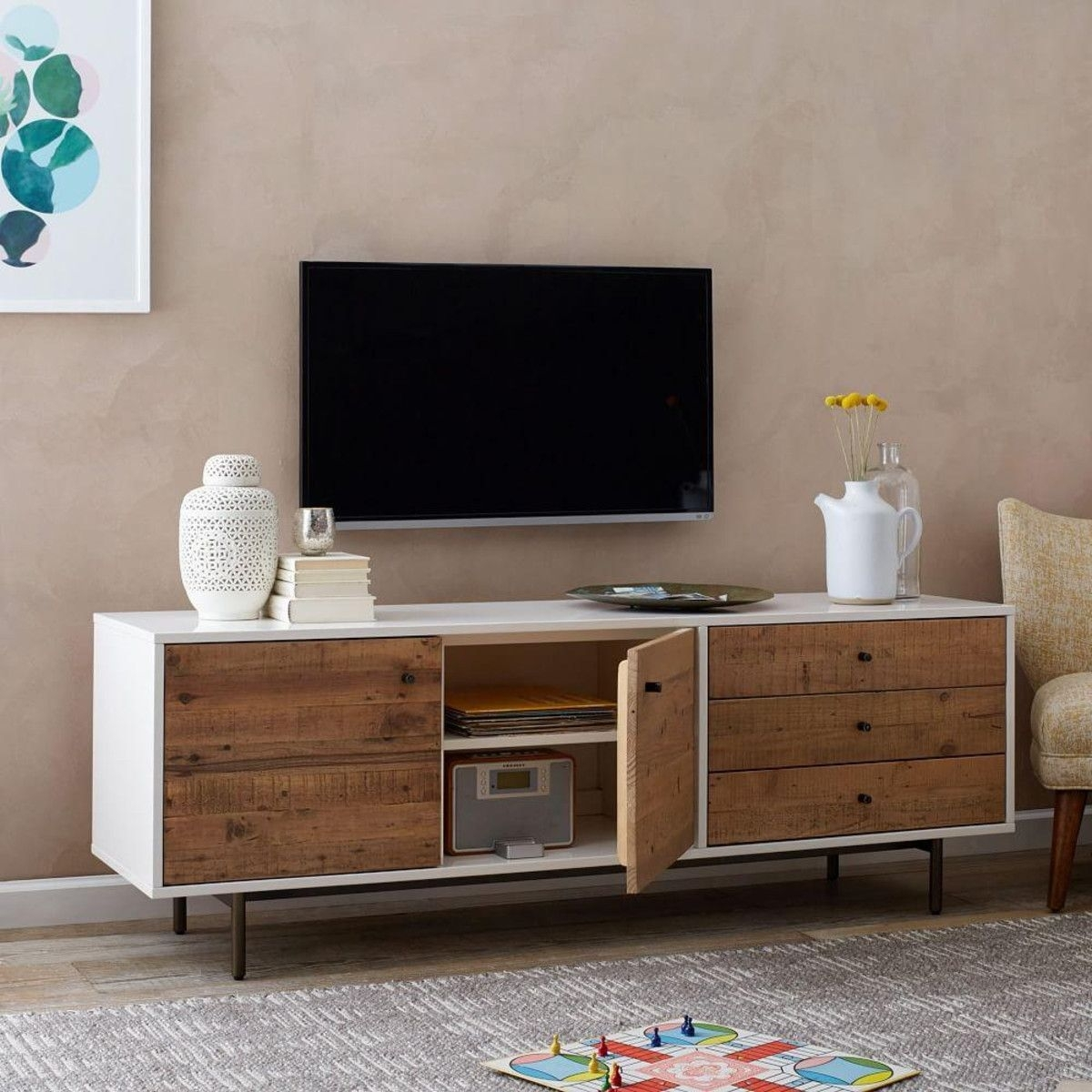 Reclaimed Wood + Lacquer Media Console (178 Cm) | West Elm Uk within Light Brown Reclaimed Elm & Pine 84 Inch Sideboards (Image 20 of 30)