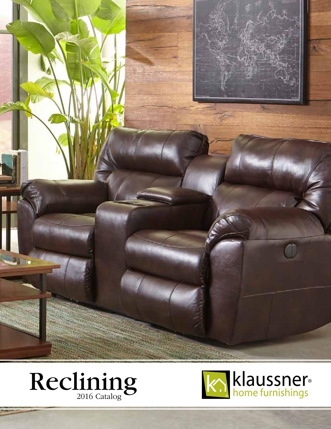 Reclining 2016 Catalogklaussner Home Furnishings - Issuu with Marcus Chocolate 6 Piece Sectionals With Power Headrest and Usb (Image 16 of 30)