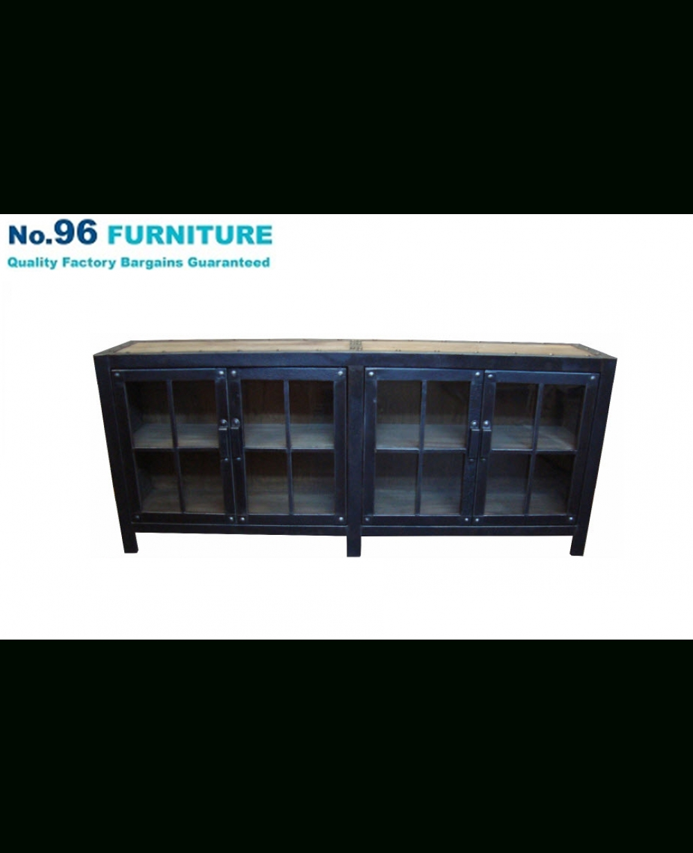 Recycled Elm And Iron Glass Sideboard 4 Doors – Buffet & Sideboards Regarding Iron Sideboards (View 19 of 30)